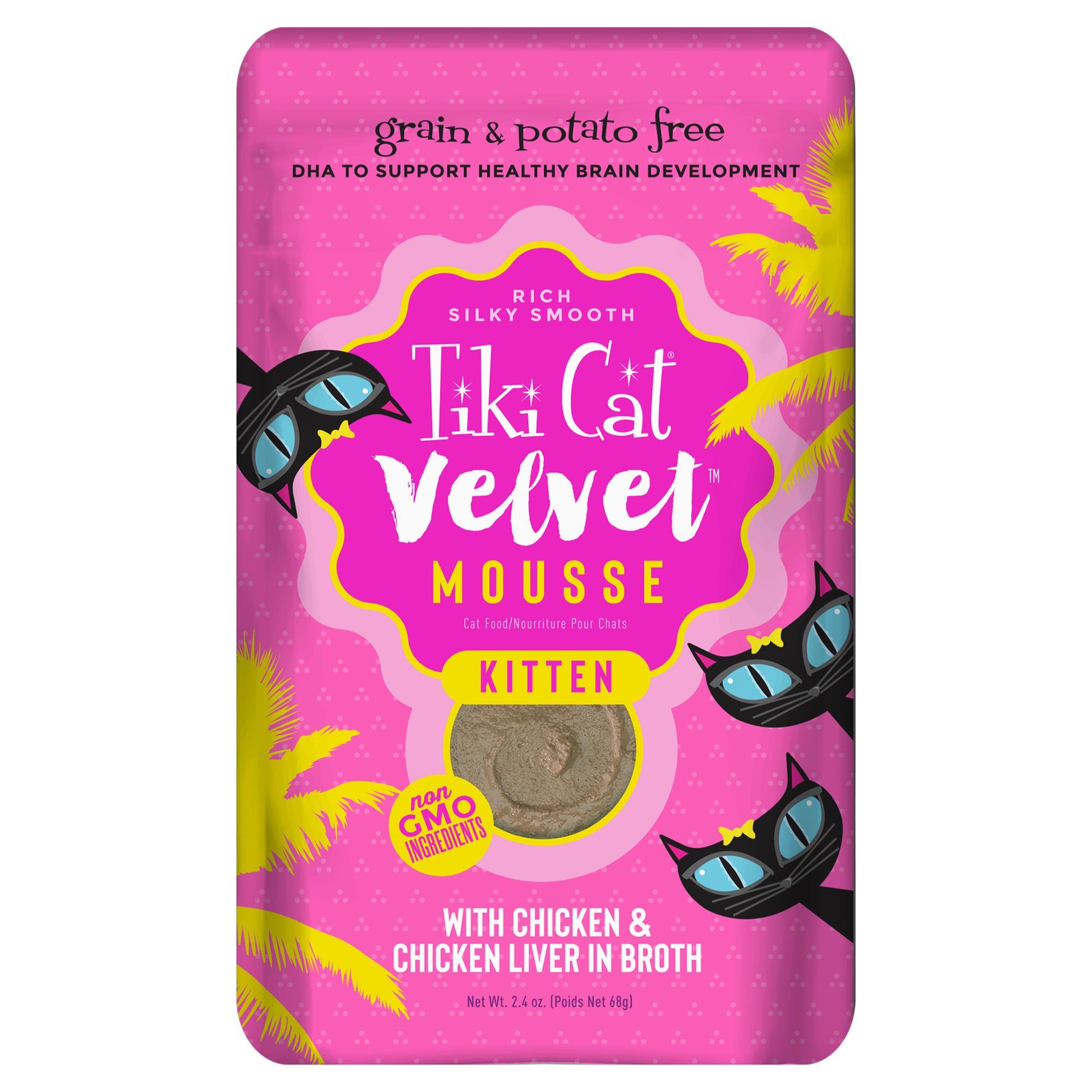 Tiki Cat Velvet Mousse Kitten Chicken & Chicken Liver Wet Cat Food Pouch, 2.4-oz
