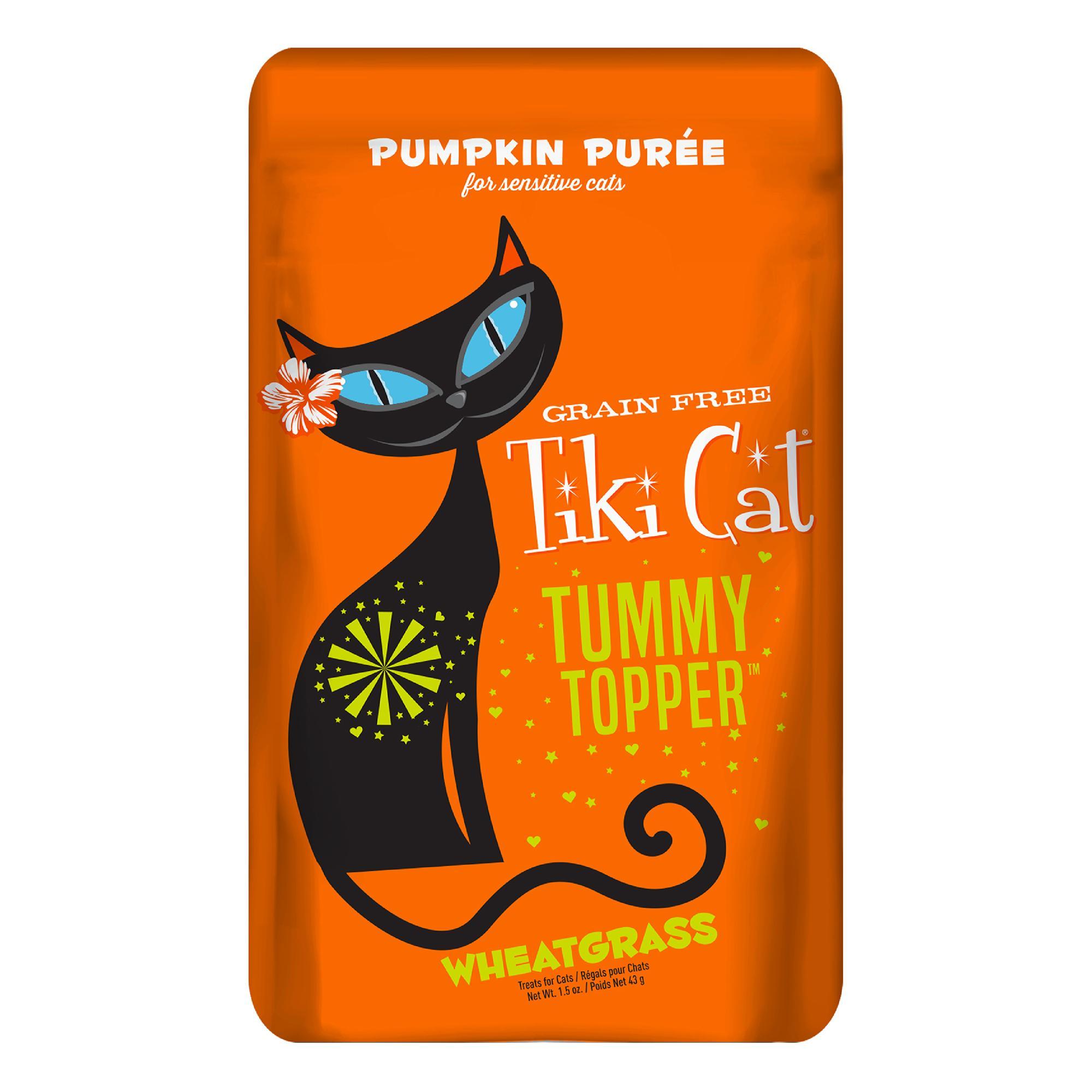Tiki Cat Tummy Topper Pumpkin Puree & Wheatgrass Cat Food Topper, 1.5-oz
