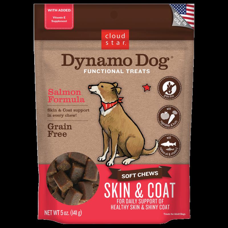 Cloud Star Dynamo Dog Skin & Coat Soft Chews Salmon Formula Dog Treats, 5-oz