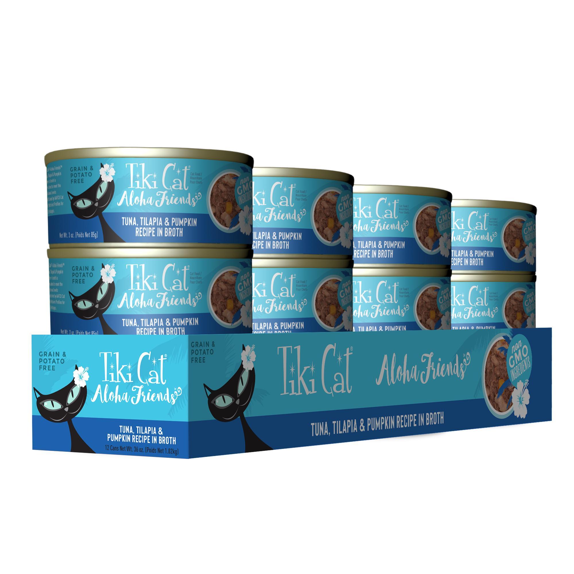 Tiki Cat Aloha Friends Tuna with Tilapia & Pumpkin Wet Cat Food, 3-oz can, case of 12