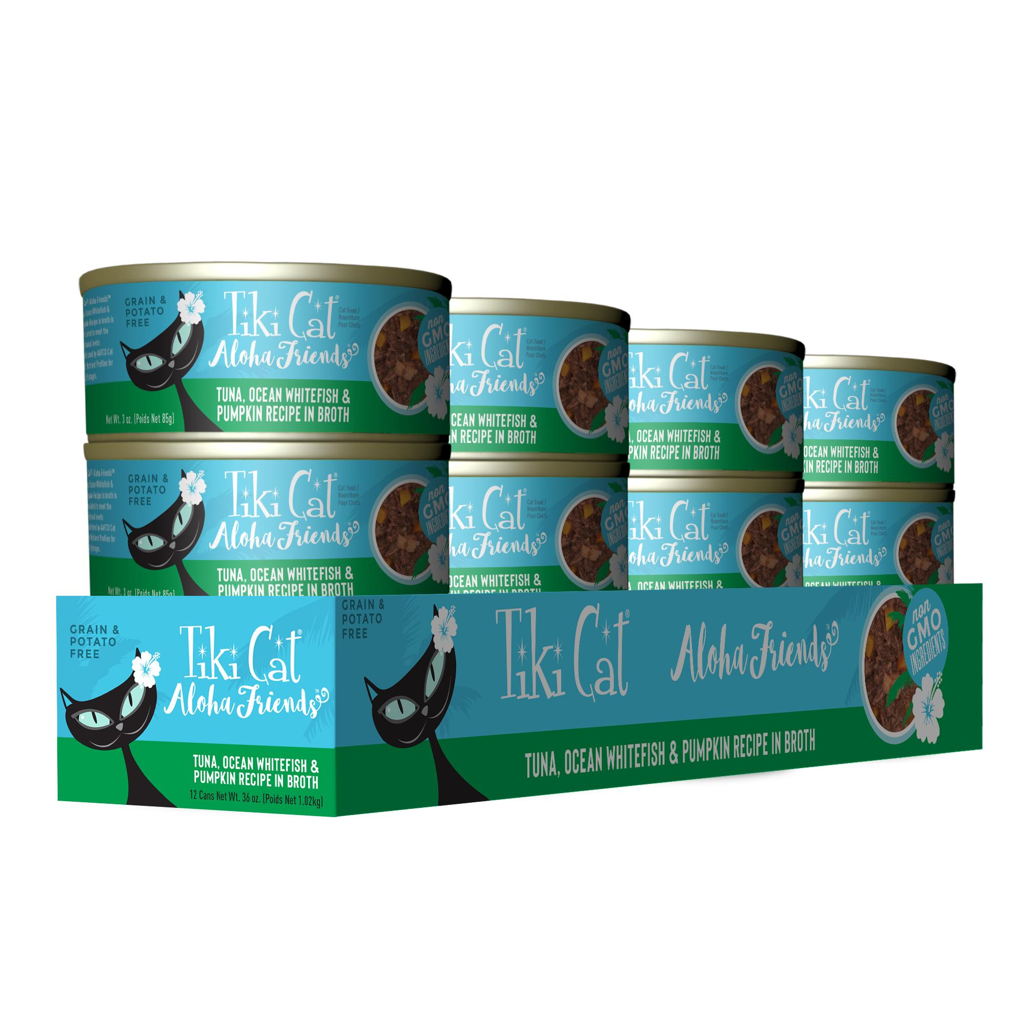 Tiki Cat Aloha Friends Tuna with Ocean Whitefish & Pumpkin Wet Cat Food, 3-oz can, case of 12