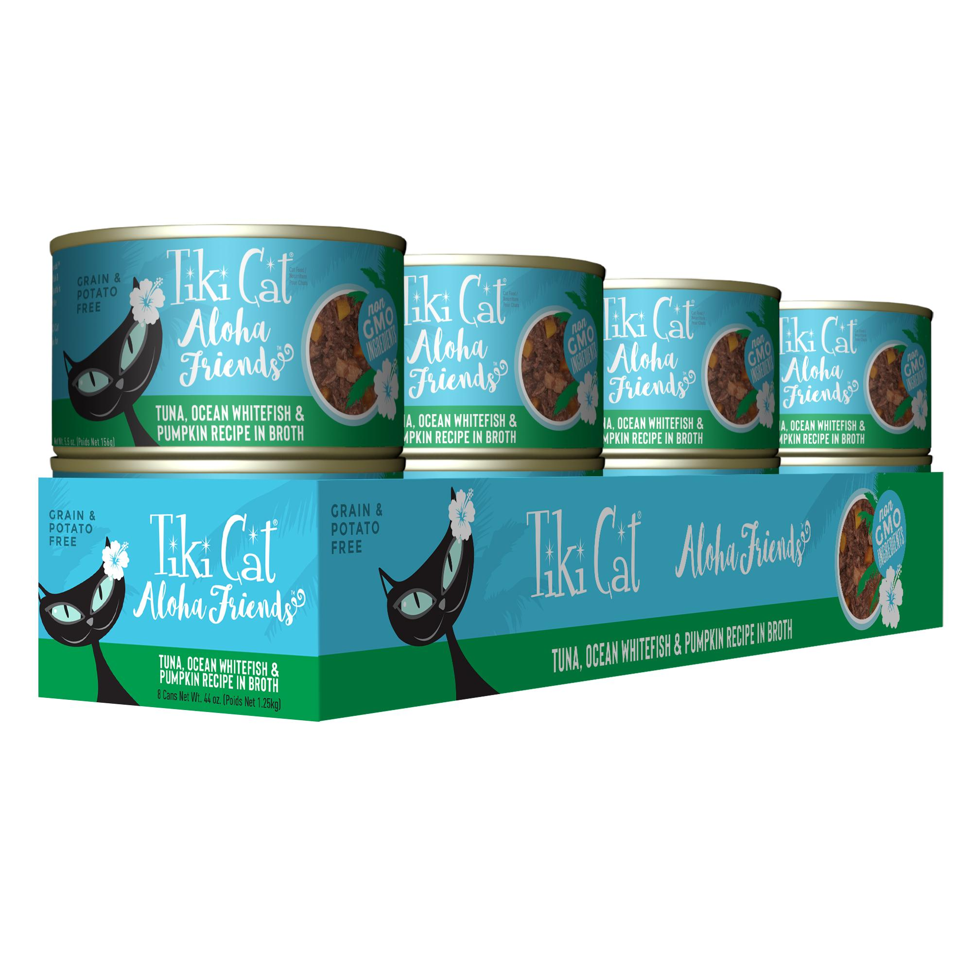 Tiki Cat Aloha Friends Tuna with Ocean Whitefish & Pumpkin Wet Cat Food, 5.5-oz can, case of 8