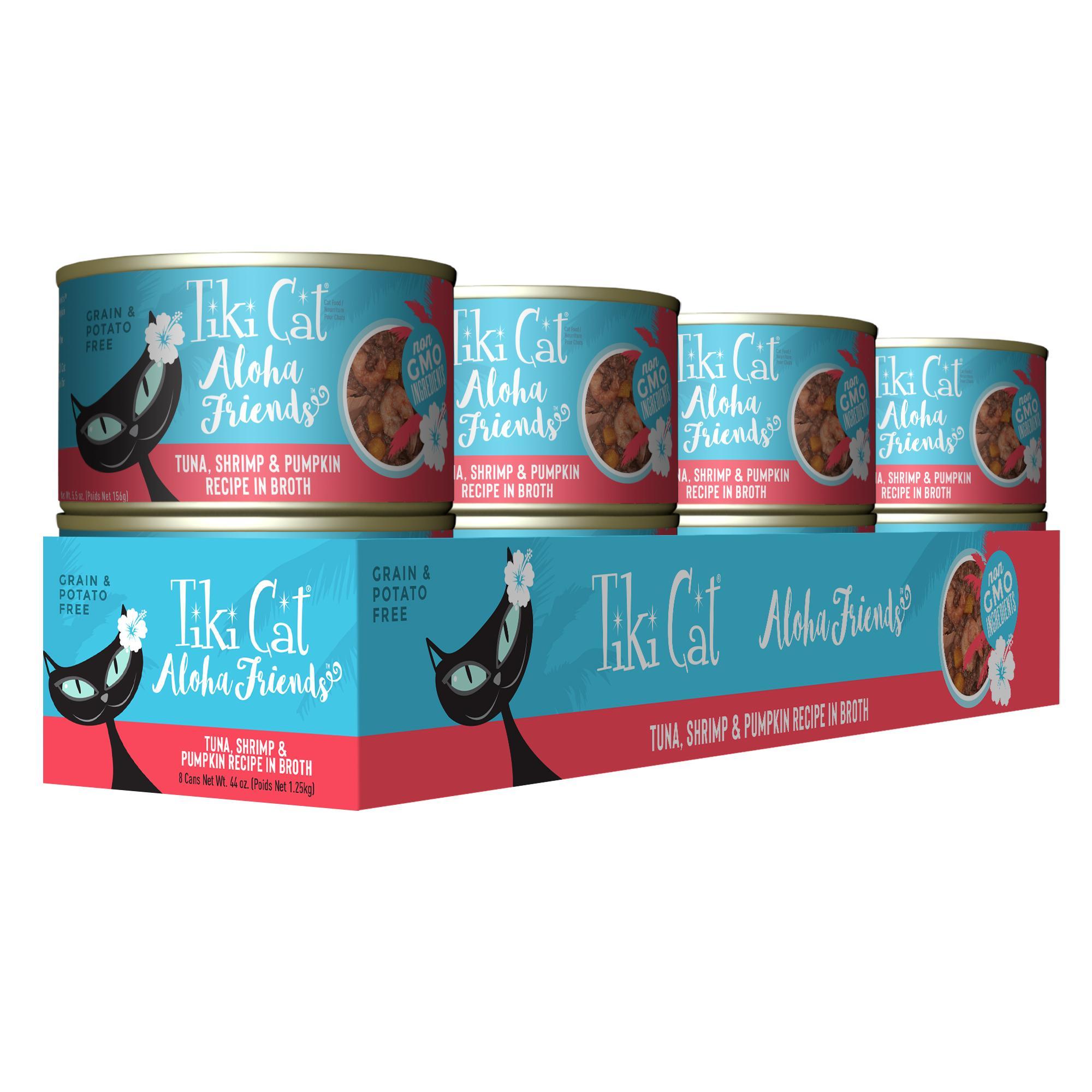 Tiki Cat Aloha Friends Tuna with Shrimp & Pumpkin Wet Cat Food, 5.5-oz can, case of 8