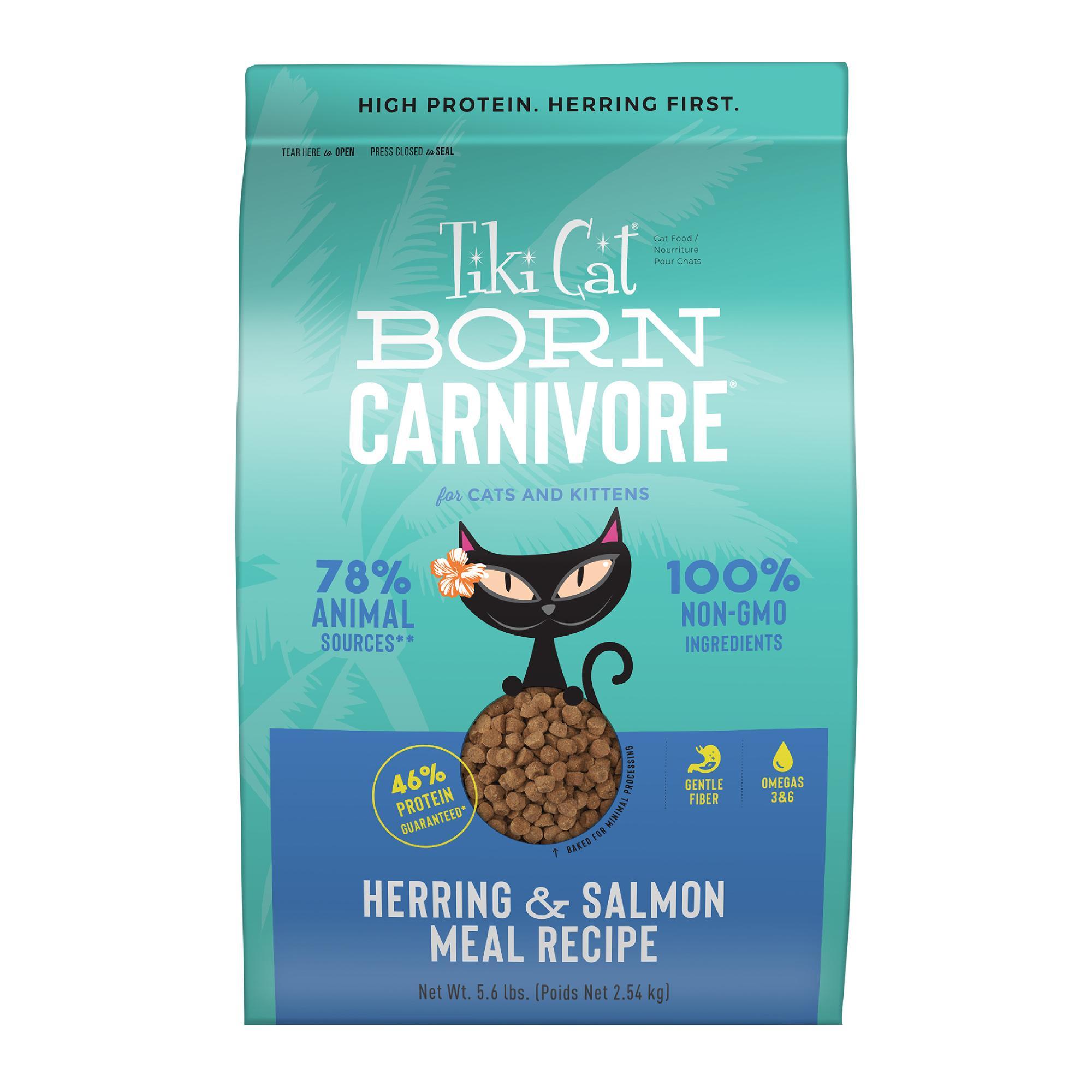 Tiki Cat Born Carnivore Herring & Salmon Dry Cat Food, 5.6-lb bag