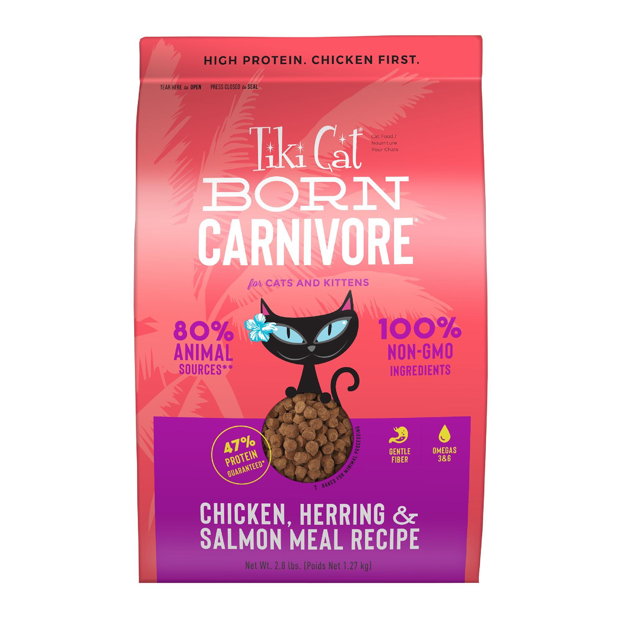 Tiki Cat Born Carnivore Chicken, Herring, & Salmon Dry Cat Food, 2.8-lb bag
