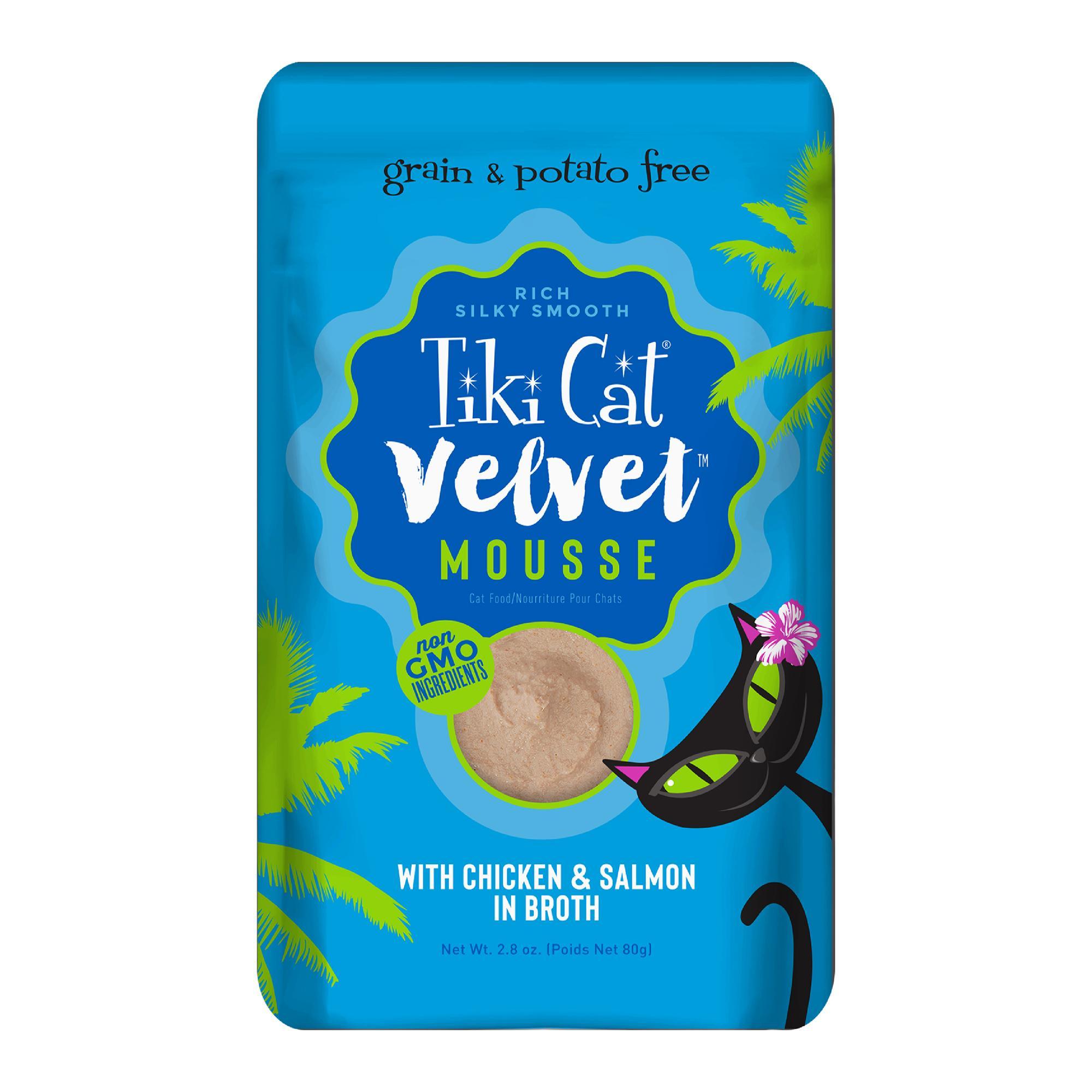 Tiki Cat Velvet Mousse Chicken & SalmonWet Cat Food, 2.8-oz