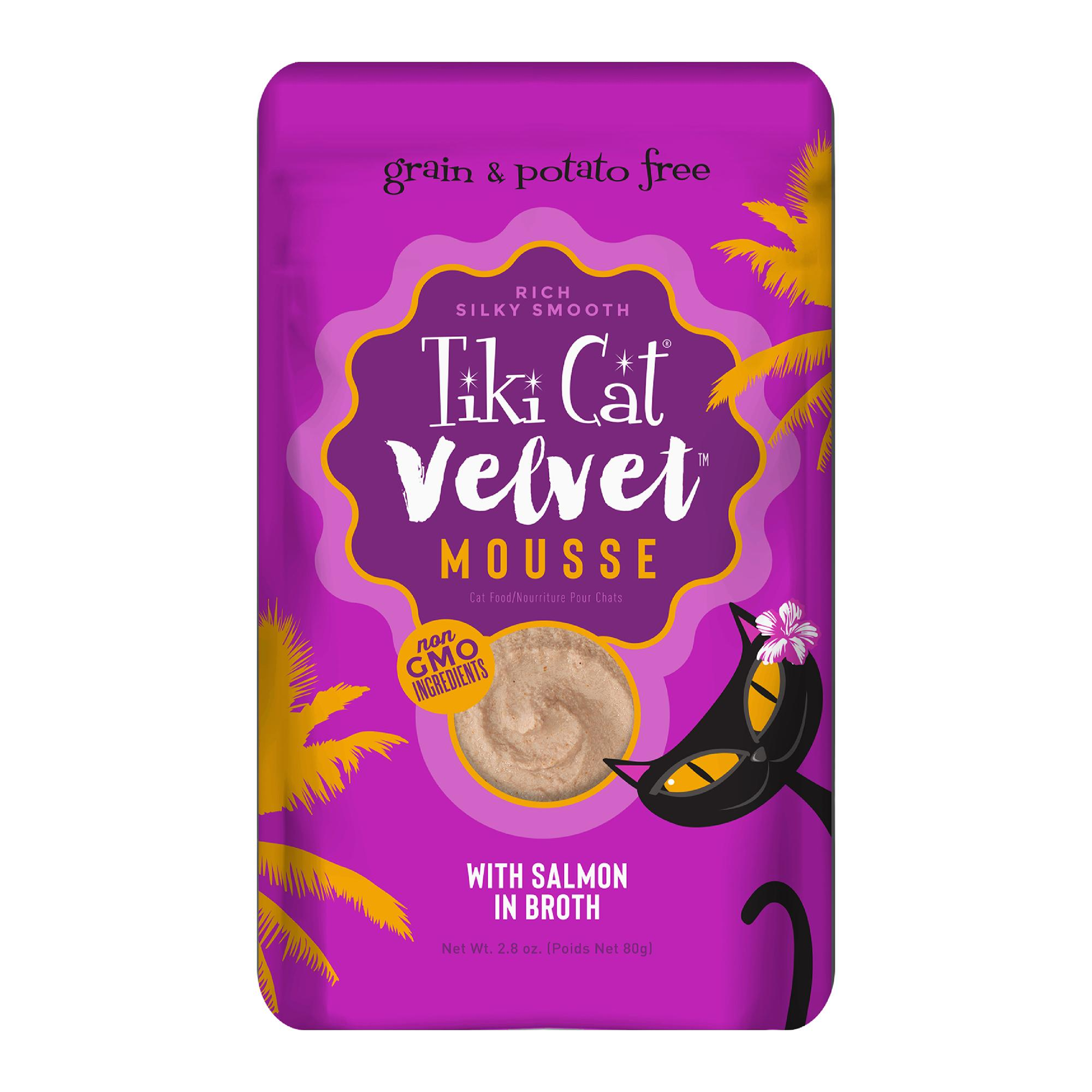 Tiki Cat Velvet Mousse Wild Salmon Wet Cat Food, 2.8-oz