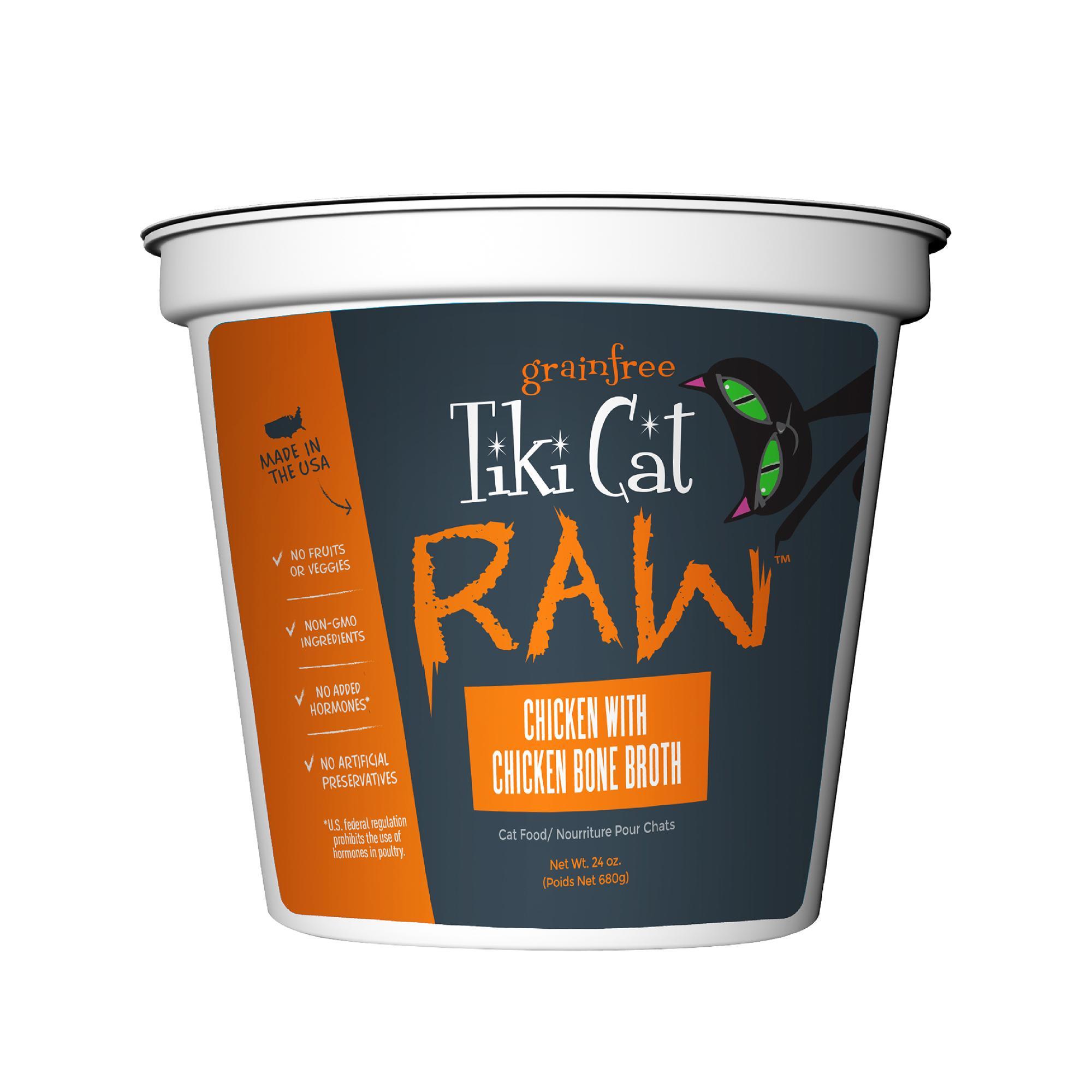 Tiki Cat Raw Chicken with Chicken Bone Broth Frozen Cat Food, 24-oz
