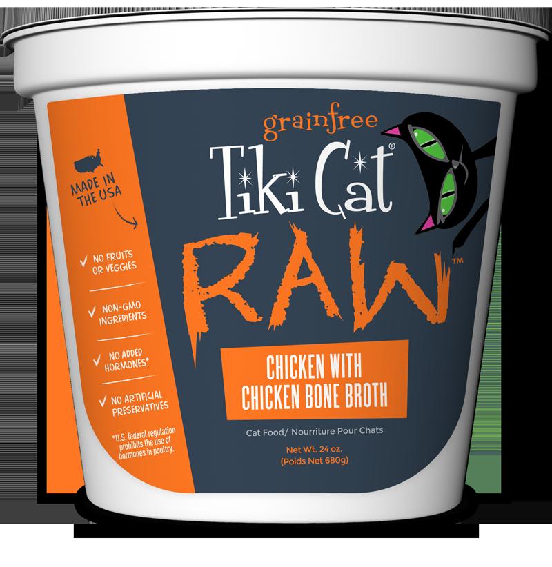 Tiki Cat Raw Grain-Free Chicken with Chicken Bone Broth Frozen Cat Food, 24-oz