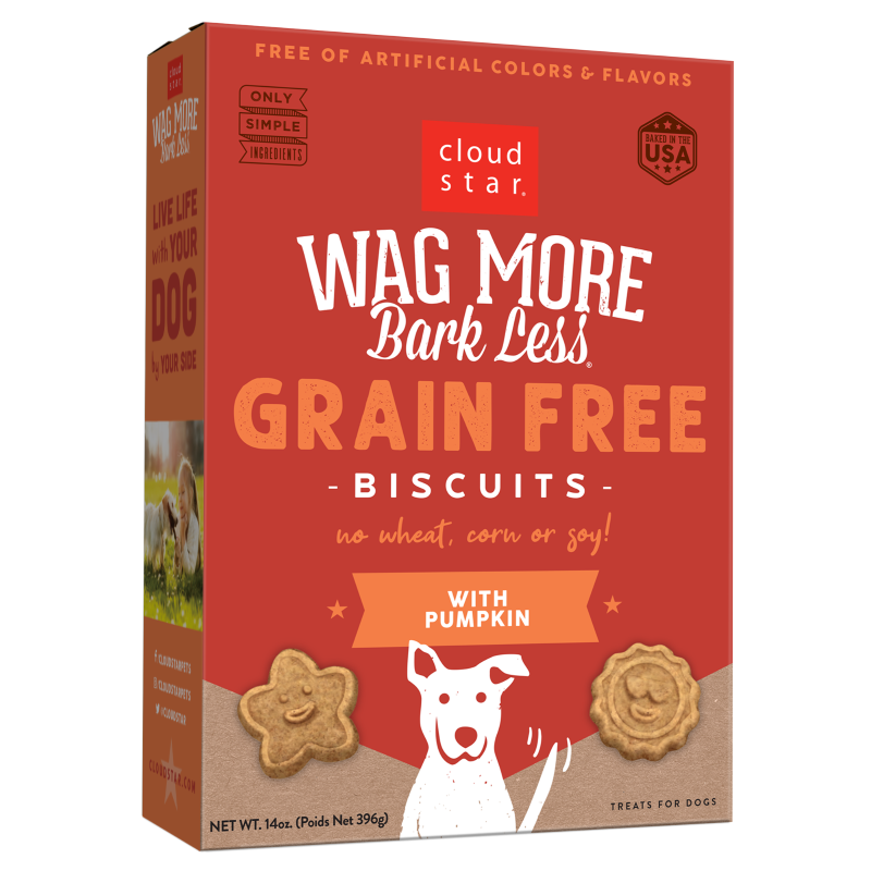 Cloud Star Wag More Bark Less Grain-Free Oven Baked with Pumpkin Dog Treats, 14-oz