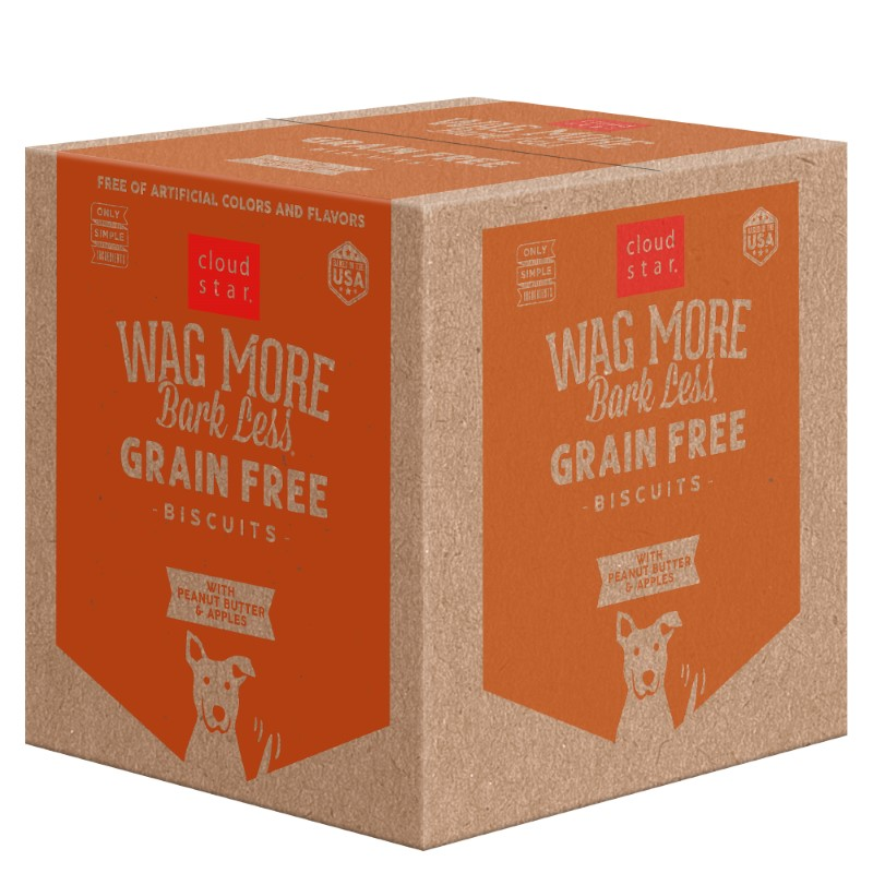 Cloud Star Wag More Bark Less Grain-Free Oven Baked with Peanut Butter & Apples Dog Treats, 19-lb