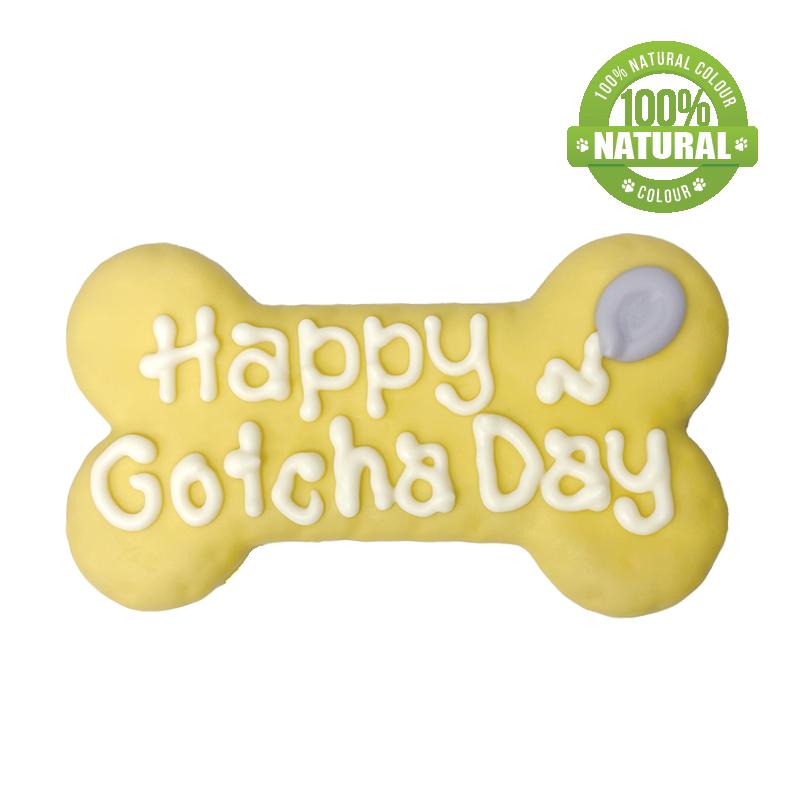 Bosco & Roxy's Bark-Day Happy Gotcha Day Bone Dog Cookie, Yellow, 6-in