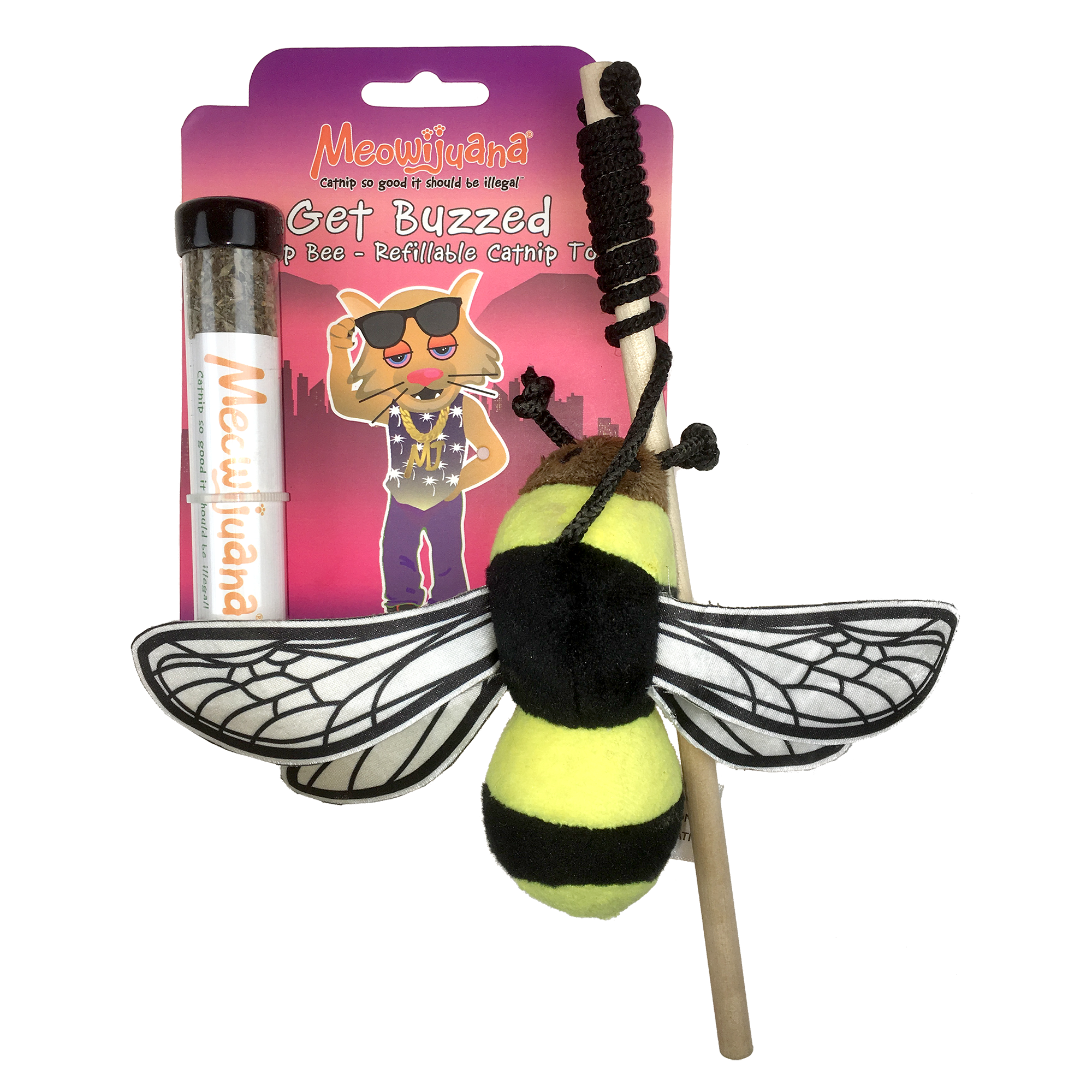 Meowijuana Get Buzzed Refillable Bee Catnip Cat Toy