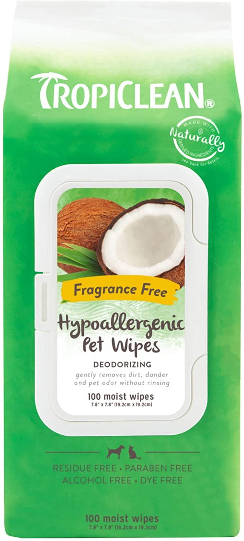 TropiClean Hypoallergenic Deodorizing Bath Pet Wipes, 100 count