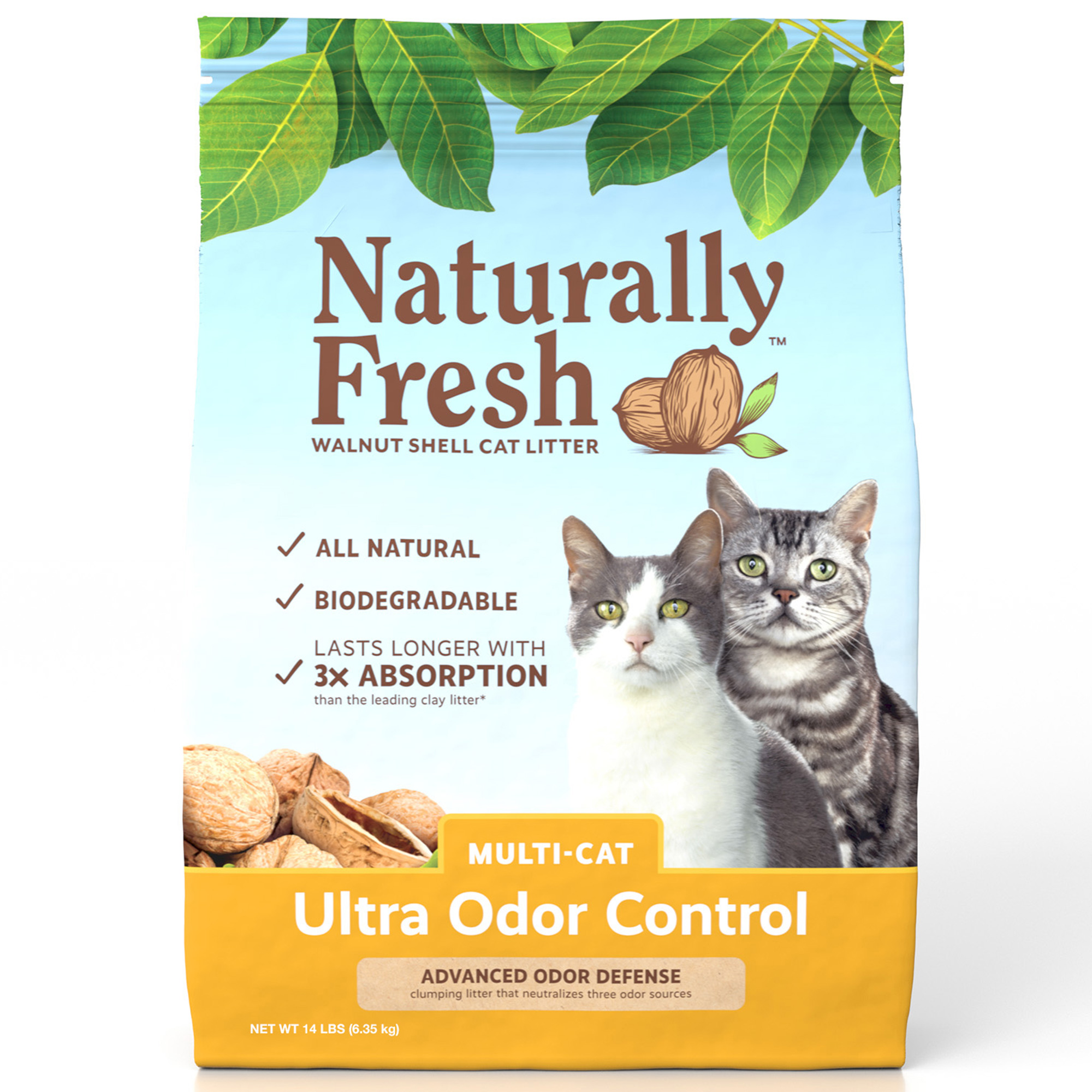 Naturally Fresh Walnut-Based Multi-Cat Ultra Odor Control Quick-Clumping Cat Litter, 26-lb bag