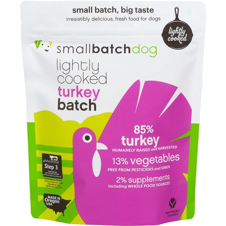 Small Batch Dog Lightly Cooked Turkey Batch Frozen Dog Food, 5-lb