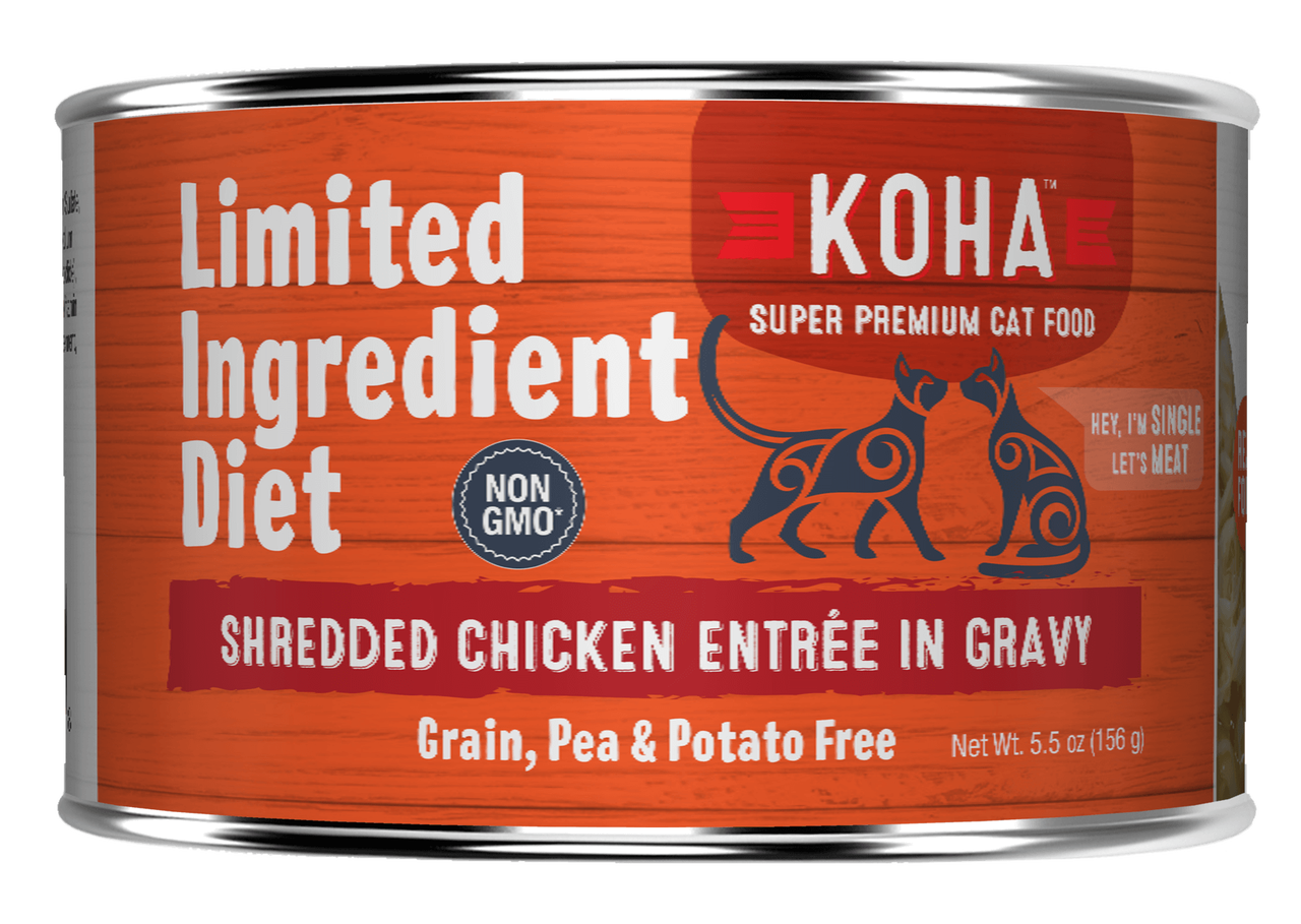Koha Cat Limited Ingredient Shredded Chicken Entree in Gravy Wet Cat Food, 5.5-oz can
