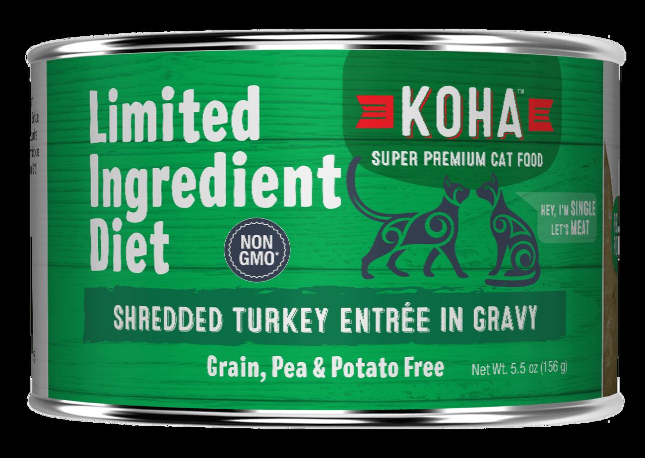 Koha Cat Limited Ingredient Shredded Turkey Entree in Gravy Wet Cat Food, 5.5-oz can