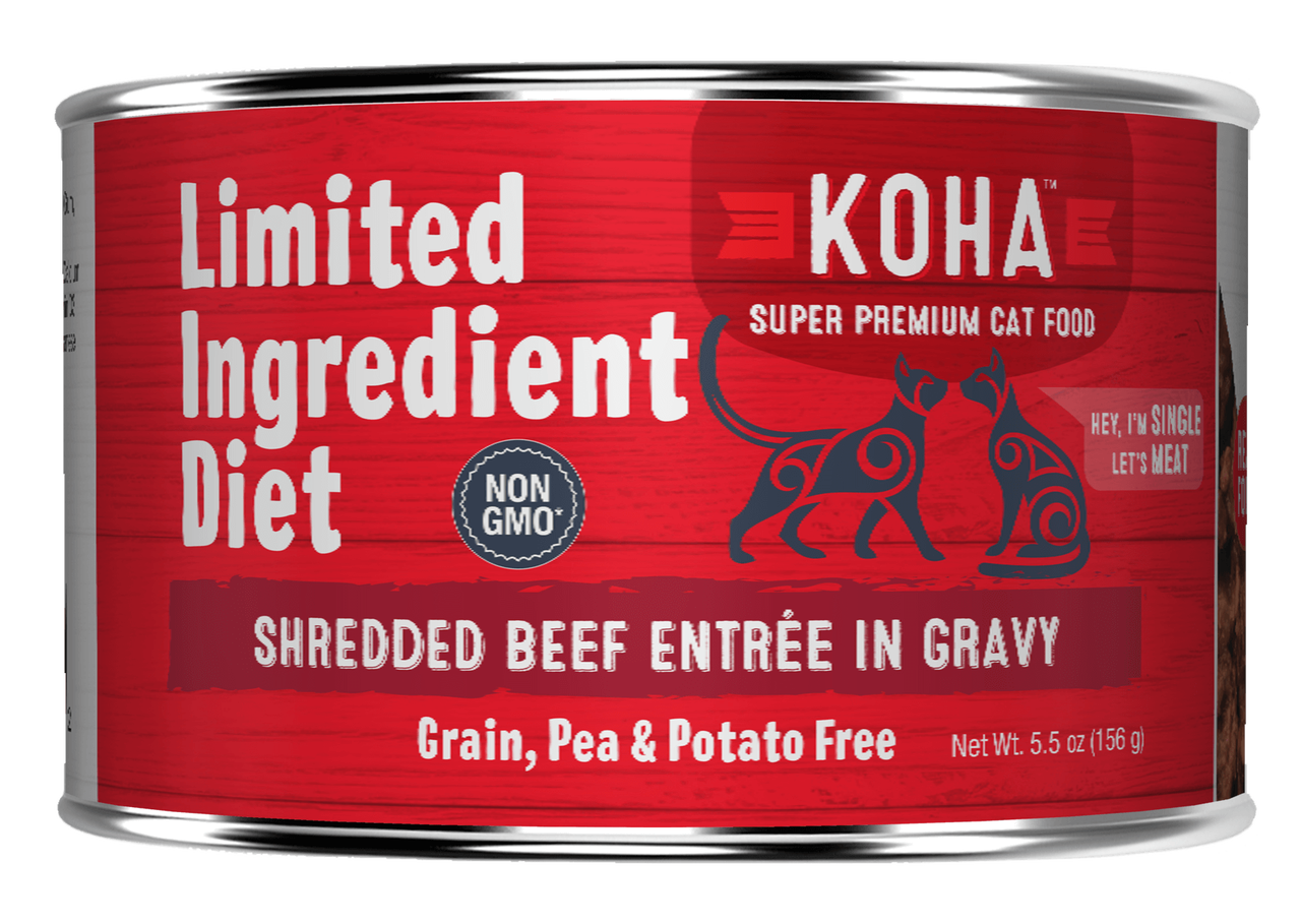 Koha Cat Limited Ingredient Shredded Beef Entree in Gravy Wet Cat Food, 5.5-oz can