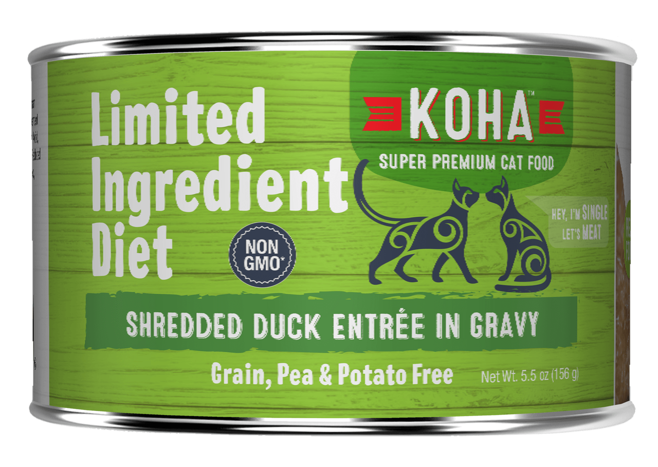 Koha Cat Limited Ingredient Shredded Duck Entree in Gravy Wet Cat Food, 5.5-oz can