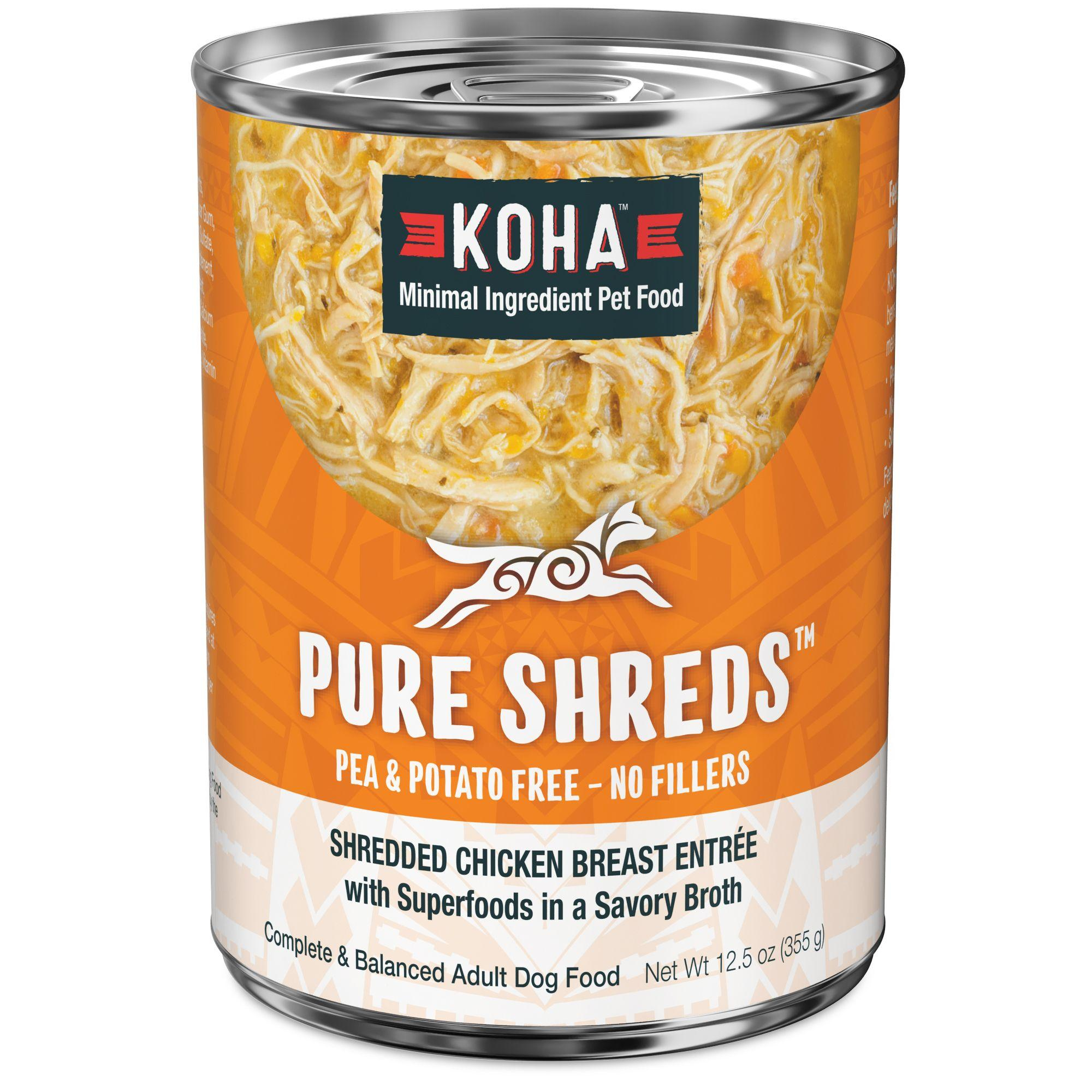 Koha Pure Shreds Shredded Chicken Breast Entree Canned Dog Food, 12.5-oz