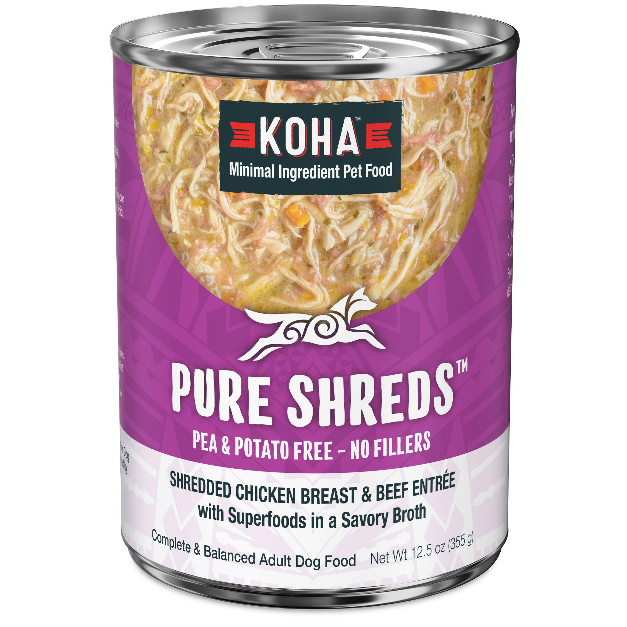Koha Pure Shreds Shredded Chicken Breast & Beef Entree Canned Dog Food, 12.5-oz