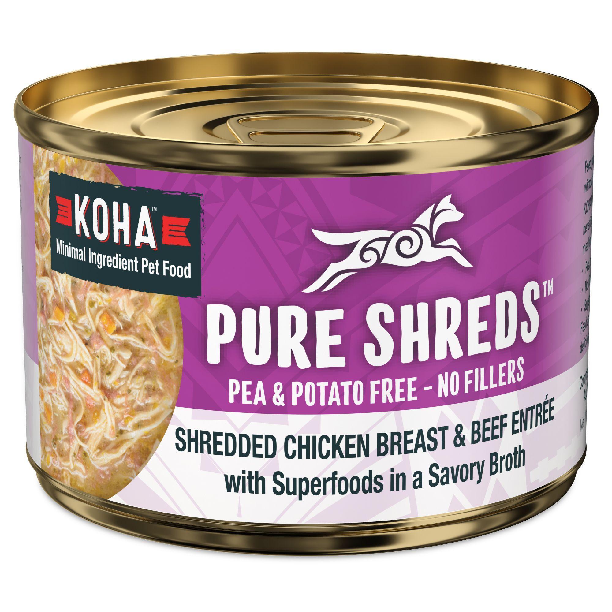 Koha Pure Shreds Shredded Chicken Breast & Beef Entree Canned Dog Food, 5.5-oz