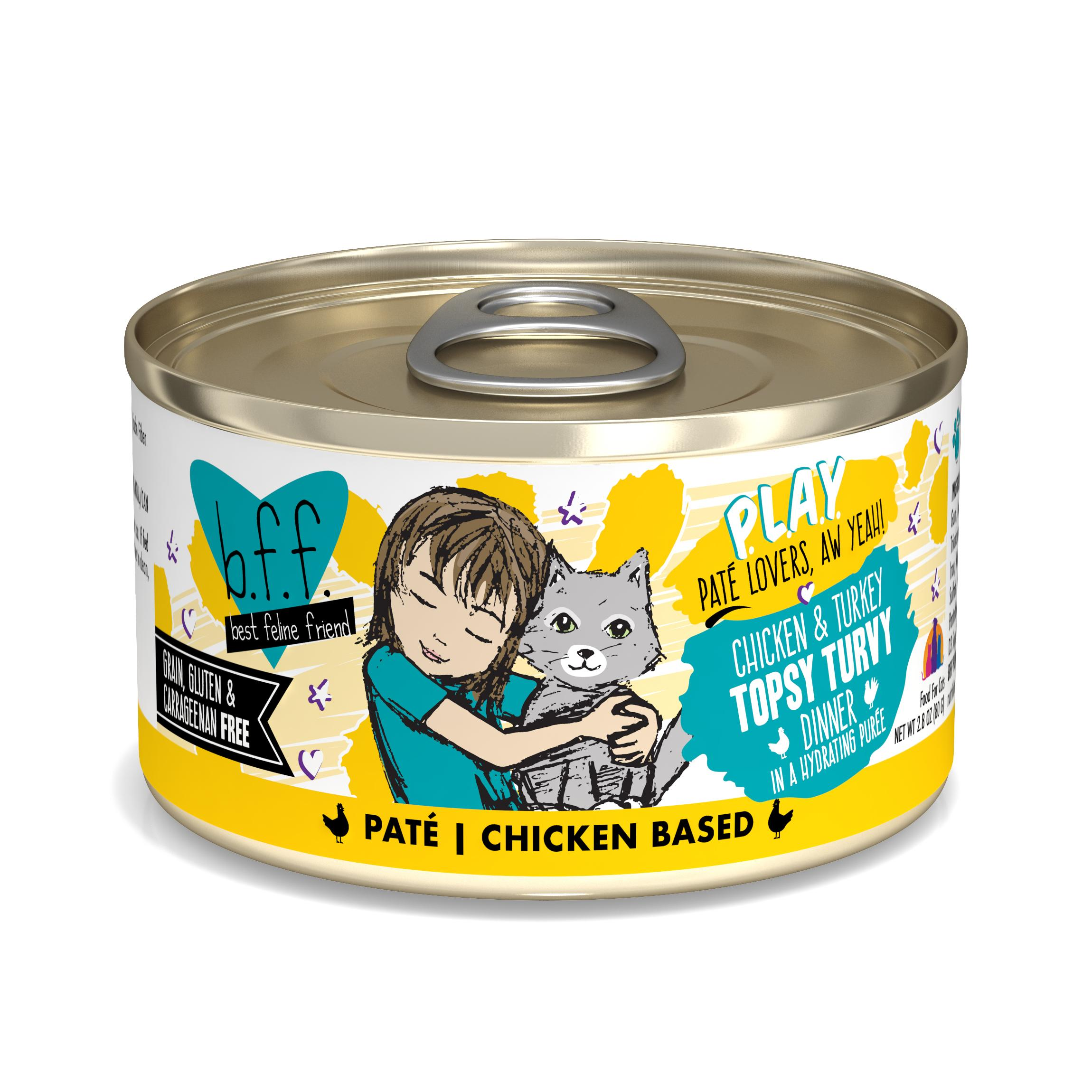 BFF PLAY Pate Topsy Turvy Chicken & Turkey Dinner in Puree Grain-Free Wet Cat Food, 2.8-oz