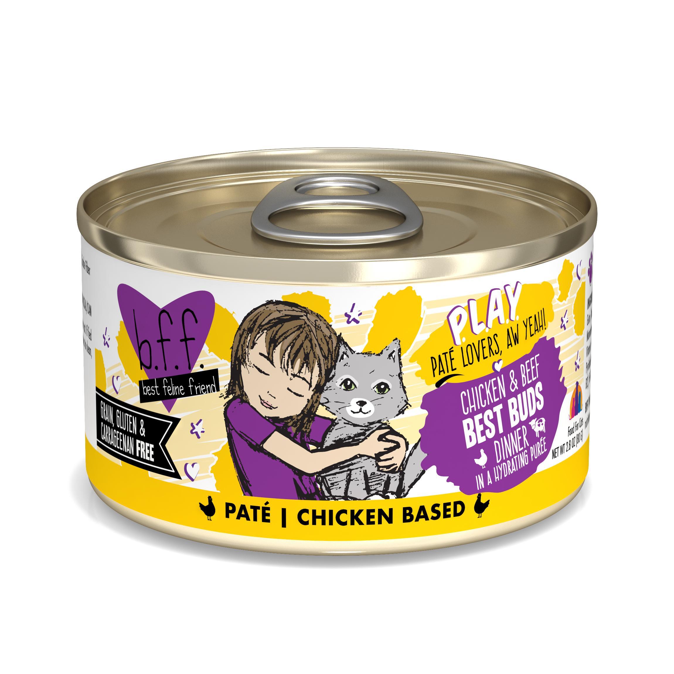 BFF PLAY Pate Best Buds Chicken & Beef Dinner in Puree Grain-Free Wet Cat Food, 2.8-oz