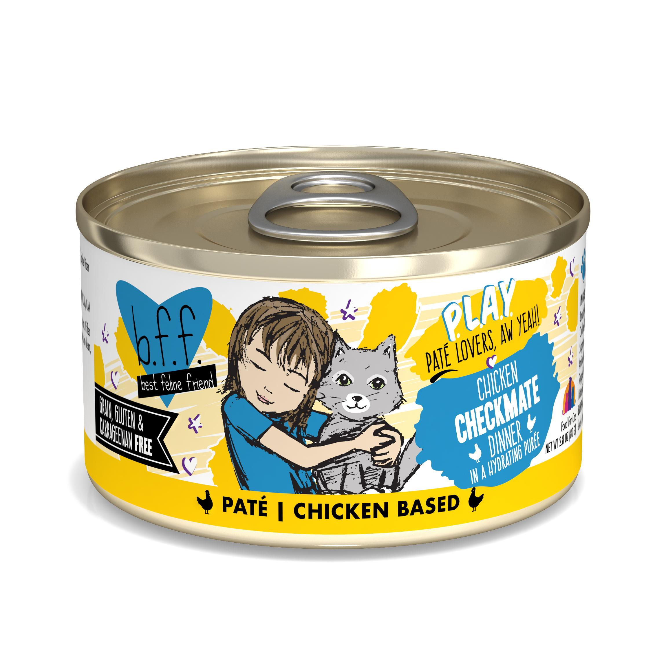BFF PLAY Pate Checkmate Chicken Dinner in Puree Grain-Free Wet Cat Food, 2.8-oz