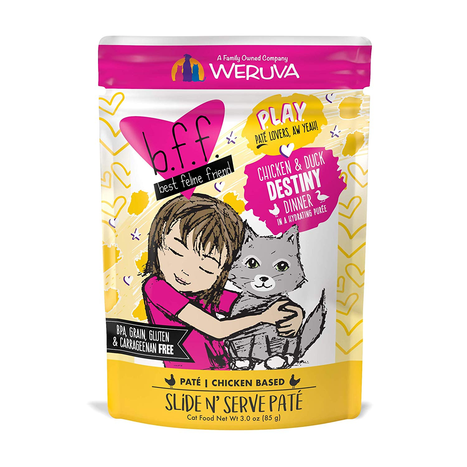 BFF PLAY Pate Destiny Chicken & Duck Dinner in Puree Grain-Free Wet Cat Food, 3-oz pouch