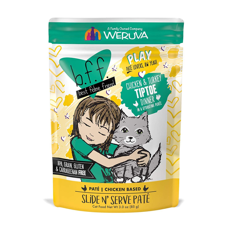 BFF PLAY Pate Tiptoe Chicken & Turkey Dinner in Puree Grain-Free Wet Cat Food, 3-oz pouch