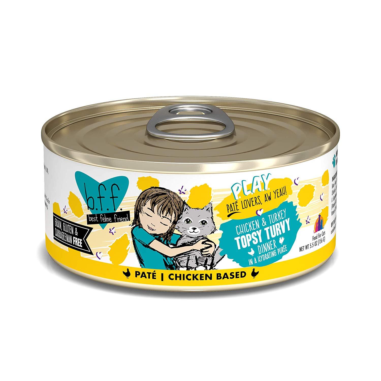 BFF PLAY Pate Topsy Turvy Chicken & Turkey Dinner in Puree Grain-Free Wet Cat Food, 5.5-oz