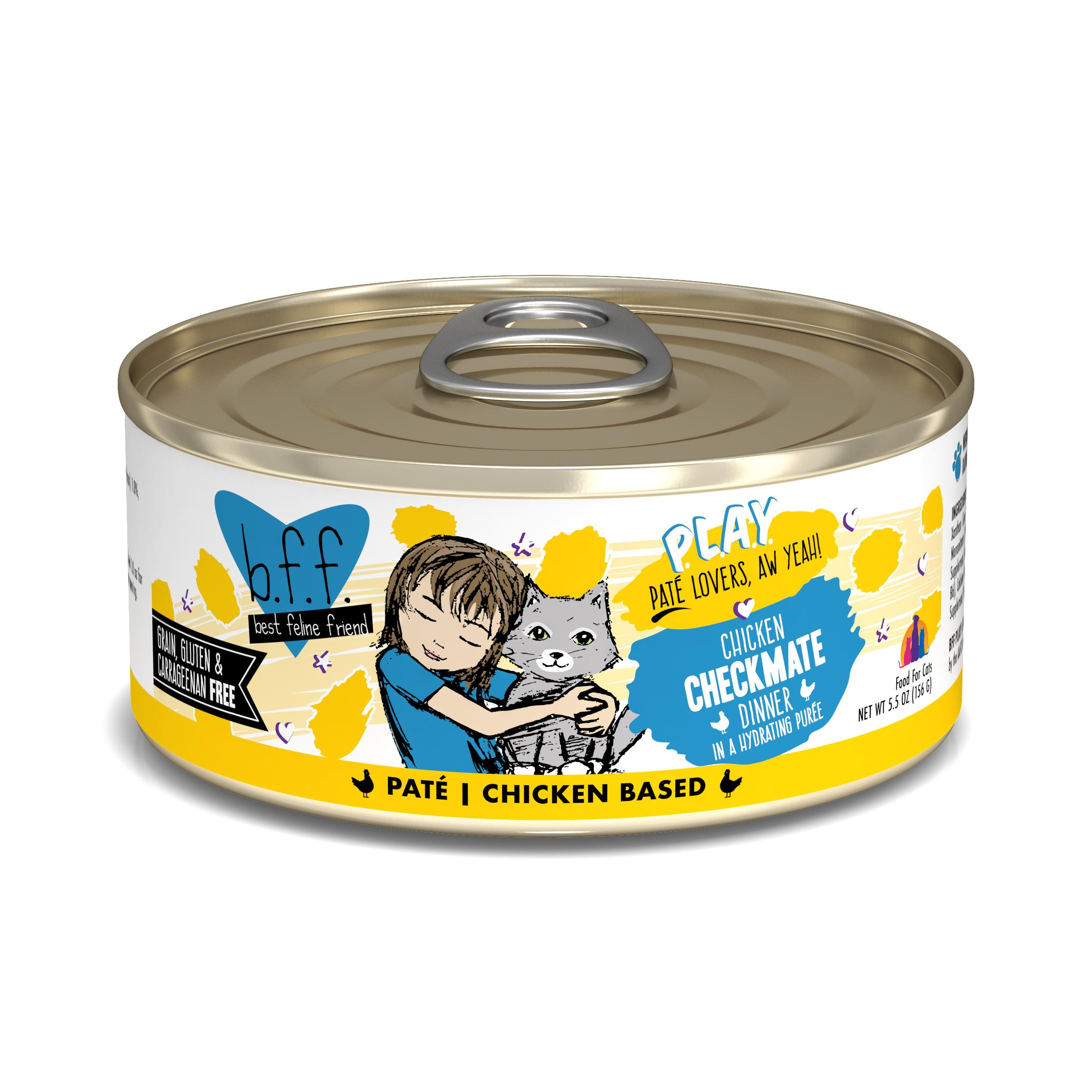 BFF PLAY Pate Checkmate Chicken Dinner in Puree Grain-Free Wet Cat Food, 5.5-oz