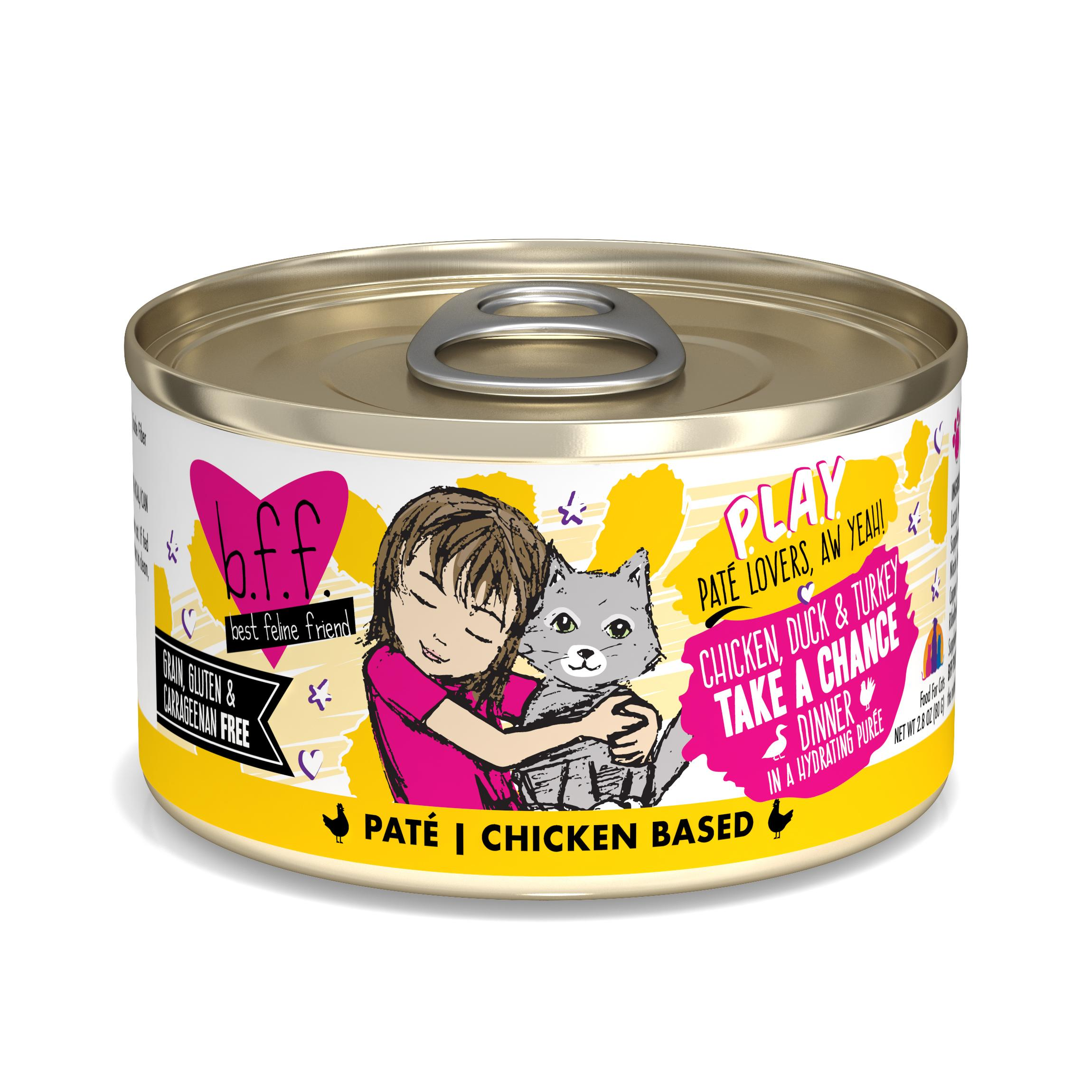 BFF PLAY Pate Take a Chance Chicken, Duck & Turkey Dinner in Puree Grain-Free Wet Cat Food, 2.8-oz