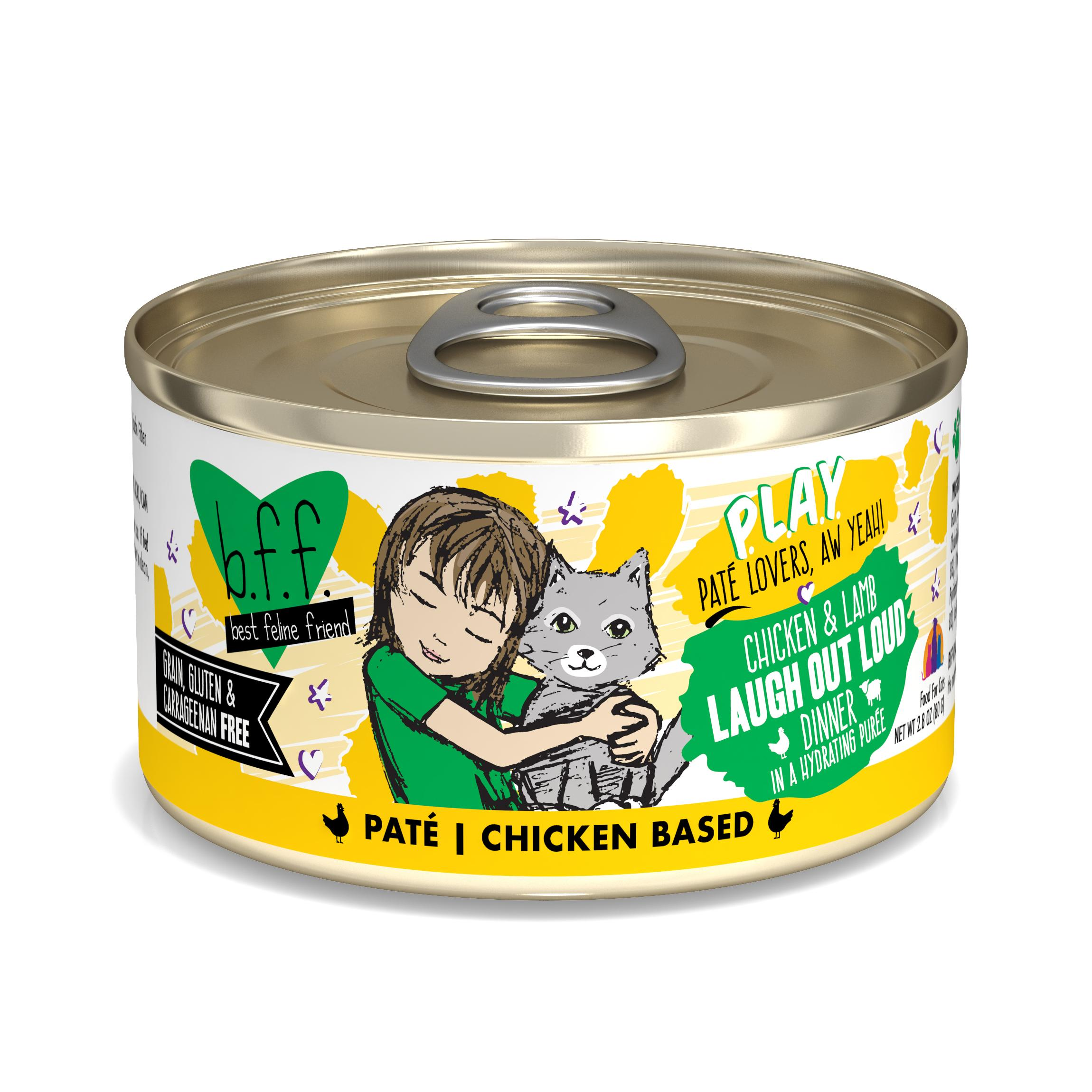BFF PLAY Pate Laugh Out Loud Chicken & Lamb Dinner in Puree Grain-Free Wet Cat Food Image