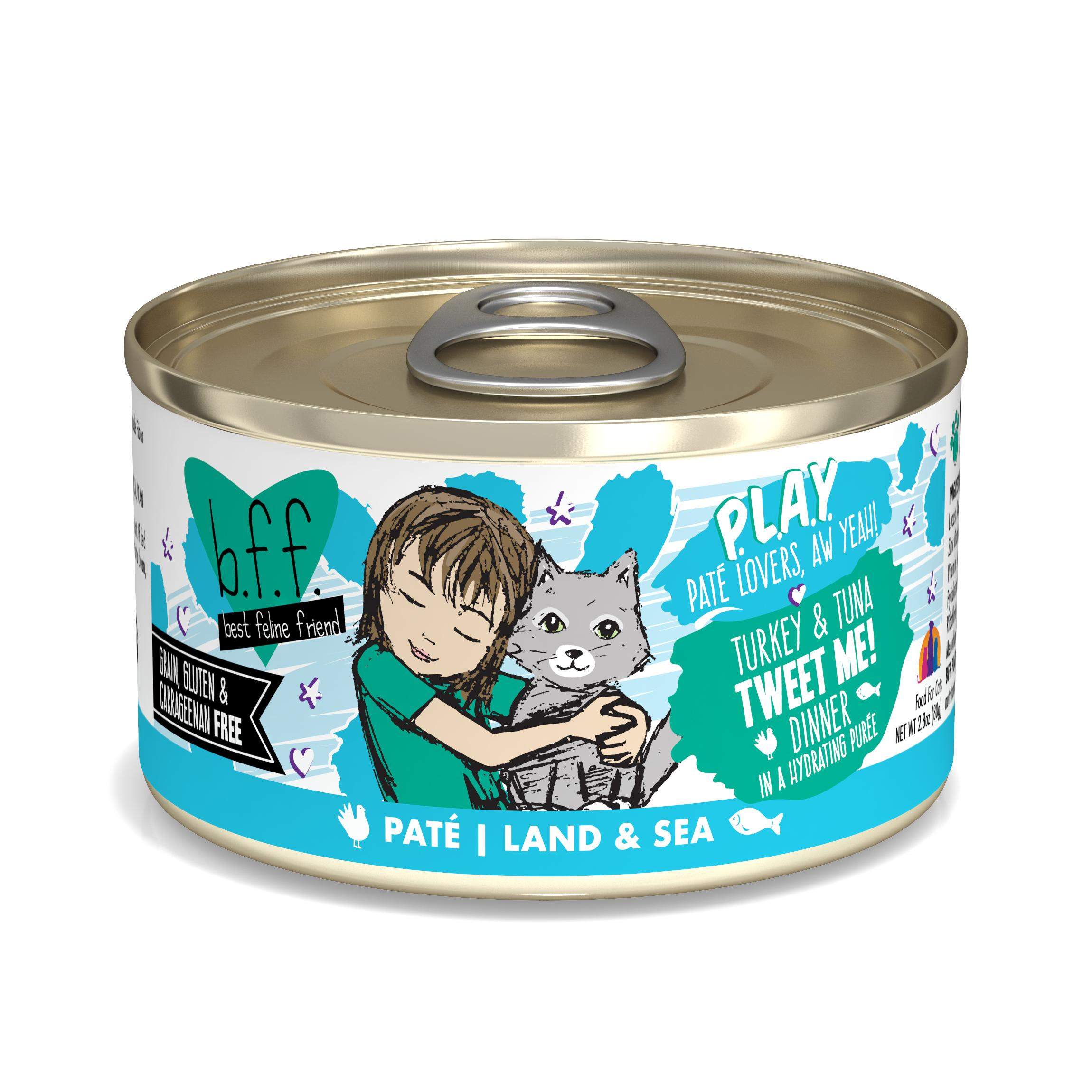 BFF PLAY Pate Tweet Me! Turkey & Tuna Dinner in Puree Grain-Free Wet Cat Food Image