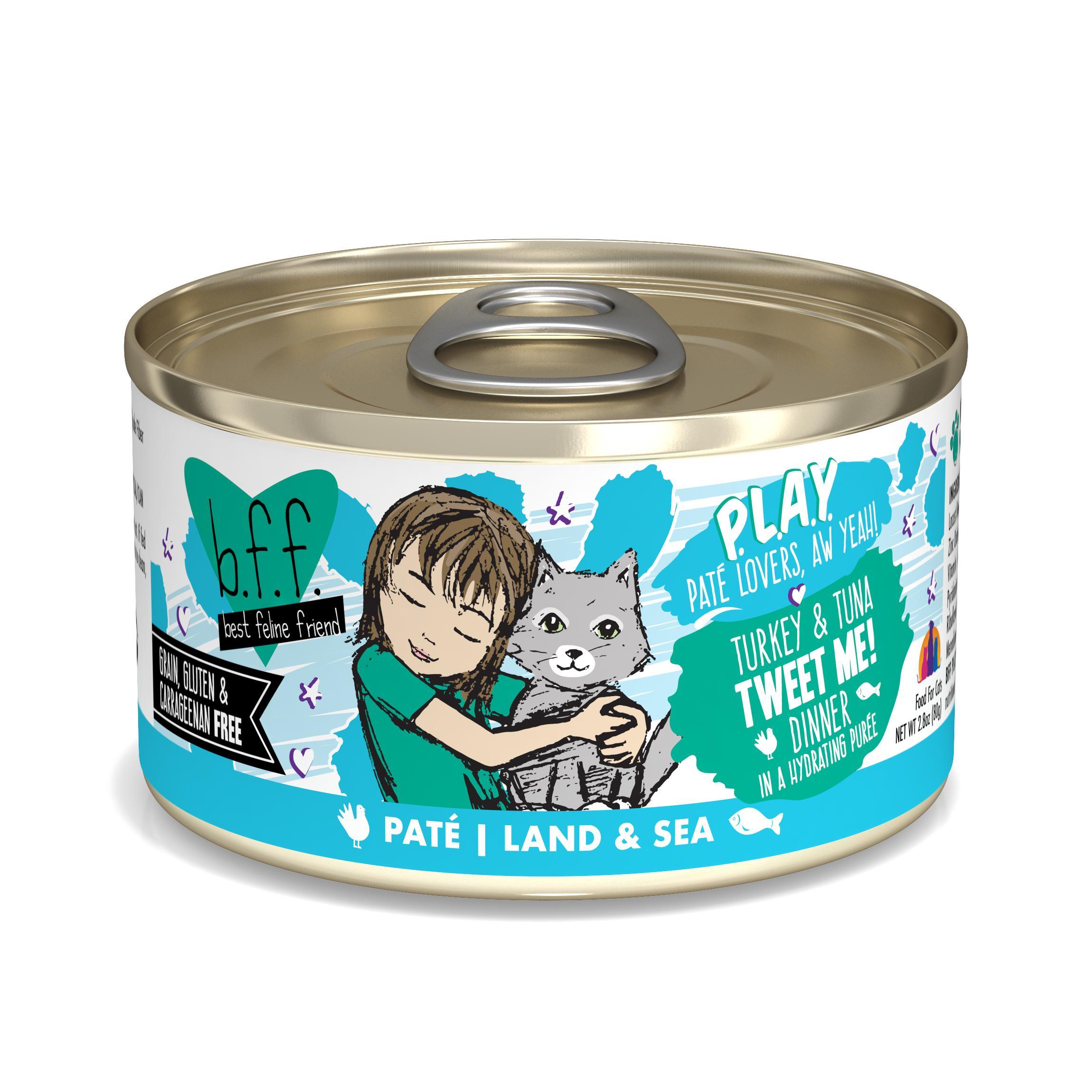 BFF PLAY Pate Tweet Me! Turkey & Tuna Dinner in Puree Grain-Free Wet Cat Food, 2.8-oz