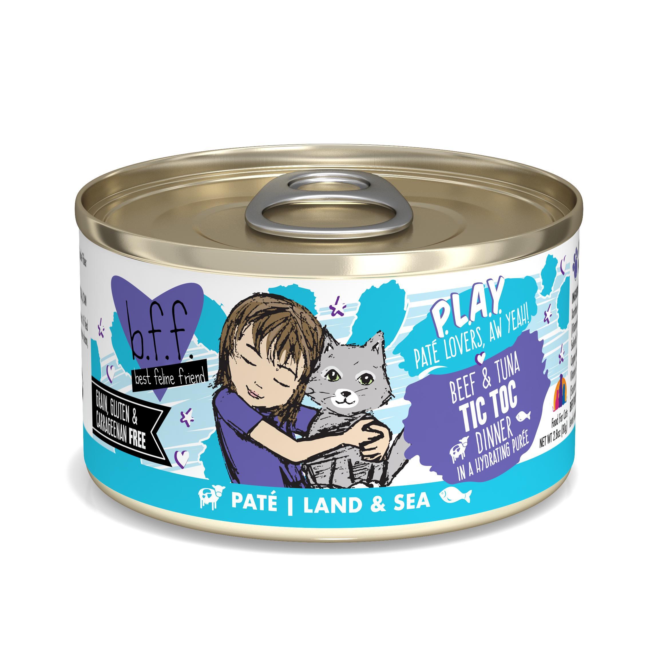 BFF PLAY Pate Tic Toc Beef & Tuna Dinner in Puree Grain-Free Wet Cat Food Image