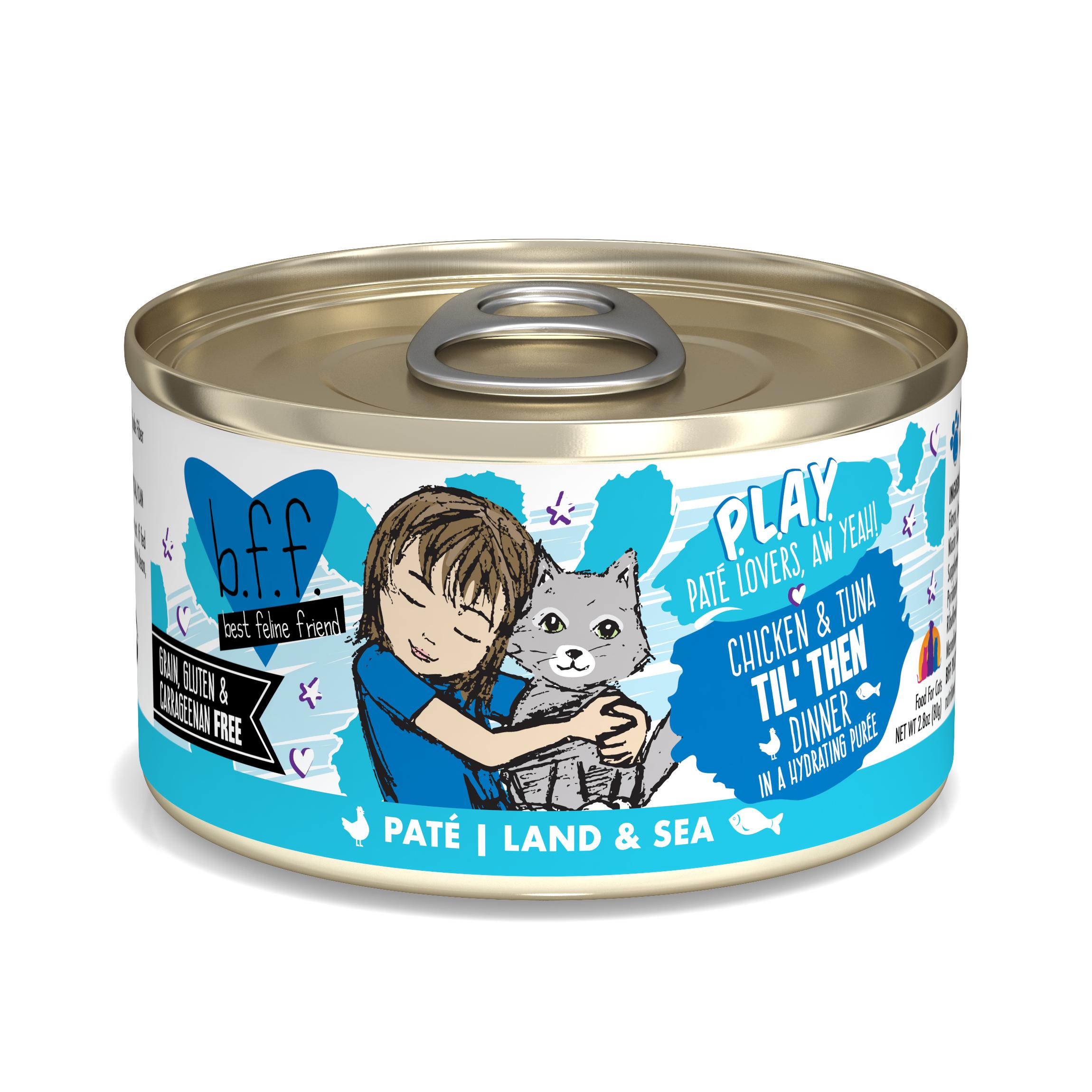 BFF PLAY Pate Til' Then Chicken & Tuna Dinner in Puree Grain-Free Wet Cat Food, 2.8-oz