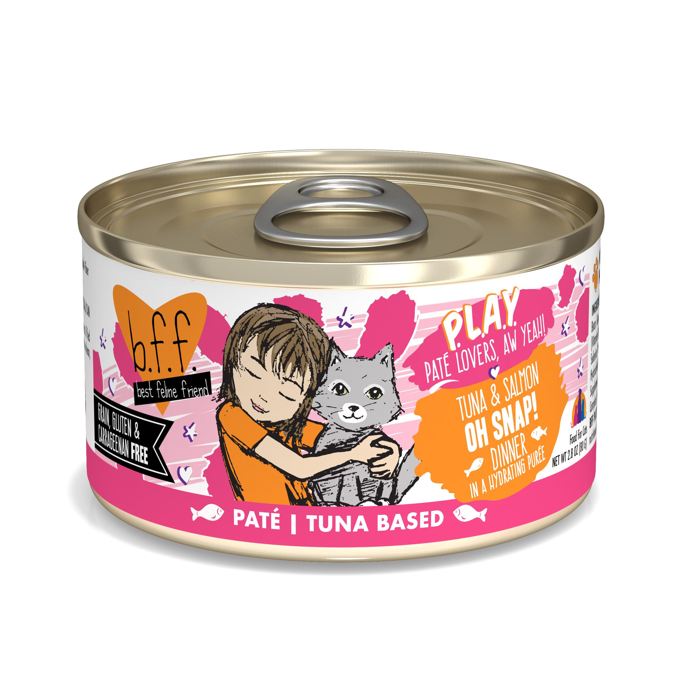 BFF PLAY Pate Oh Snap! Tuna & Salmon Dinner in Puree Grain-Free Wet Cat Food, 2.8-oz