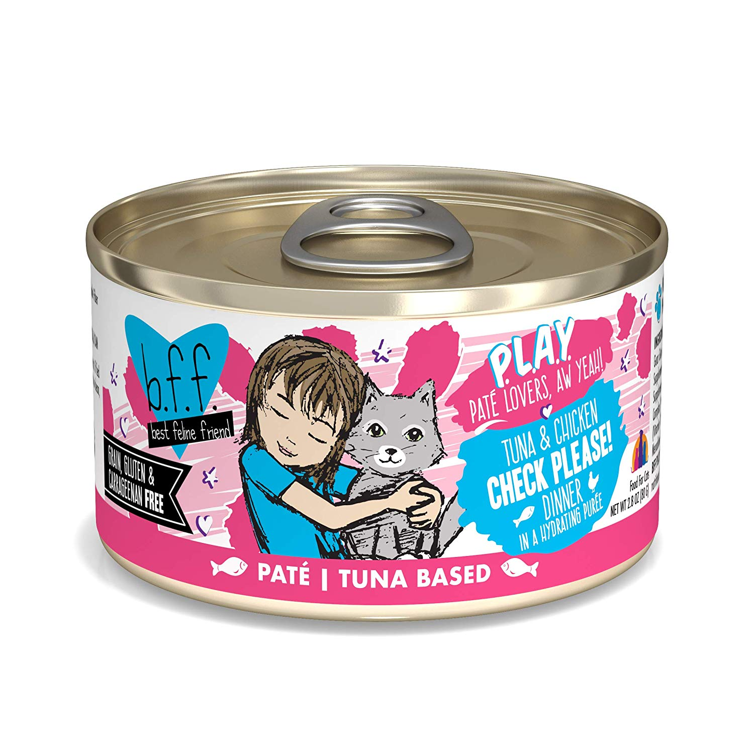 BFF PLAY Pate Check Please! Tuna & Chicken Dinner in Puree Grain-Free Wet Cat Food, 2.8-oz