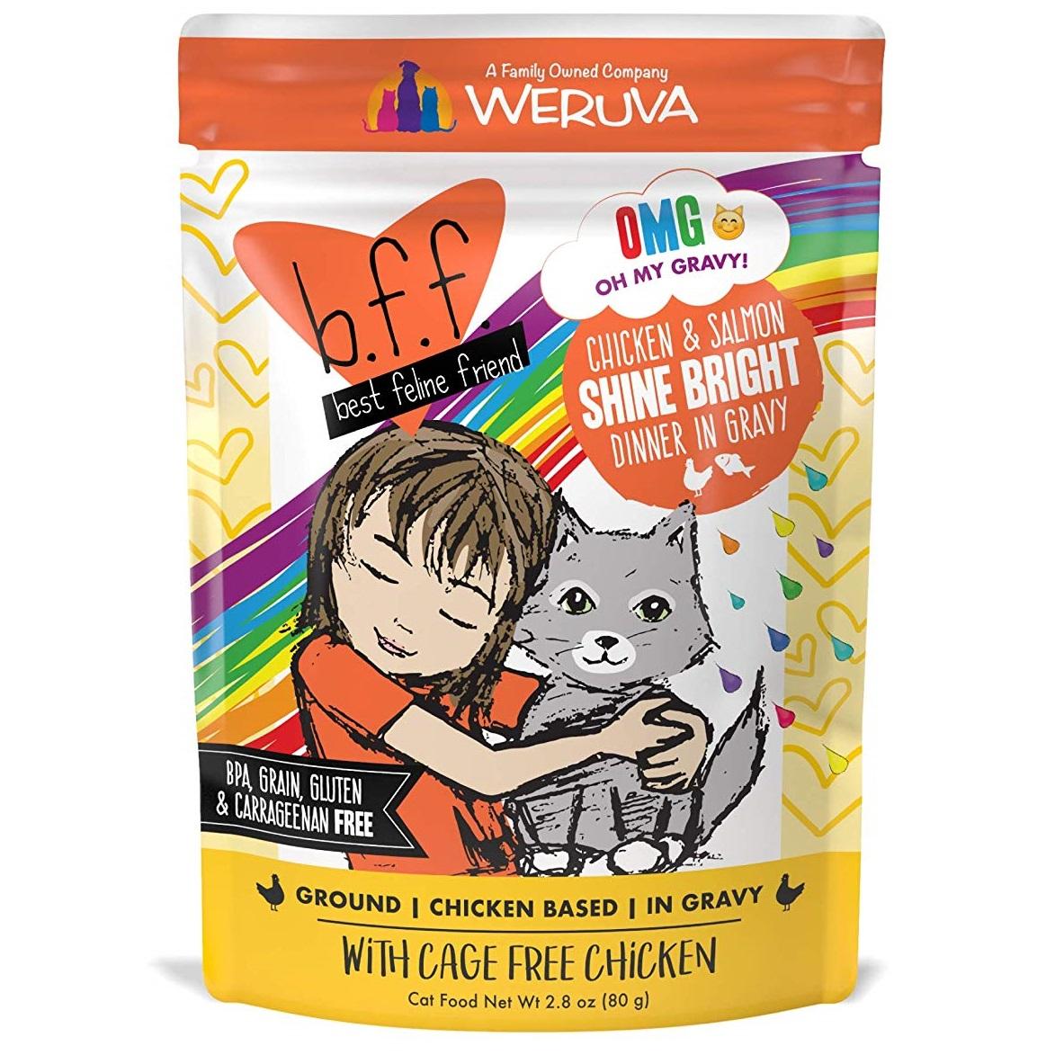 BFF Oh My Gravy! Shine Bright! Chicken & Salmon Dinner in Gravy Grain-Free Wet Cat Food, 3-oz pouch