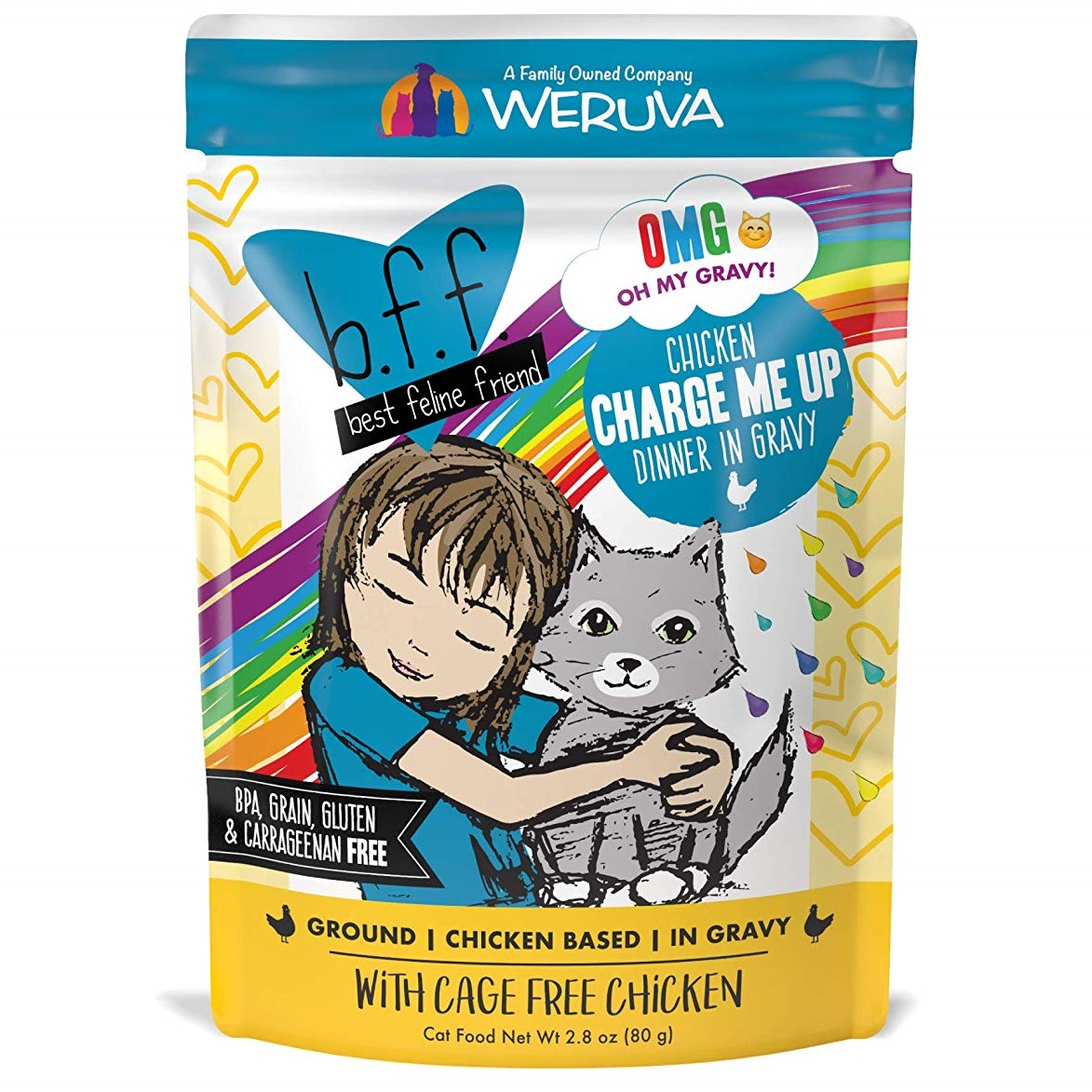 BFF Oh My Gravy! Charge Me Up! Chicken Dinner in Gravy Grain-Free Wet Cat Food, 3-oz pouch Size: 3-oz pouch
