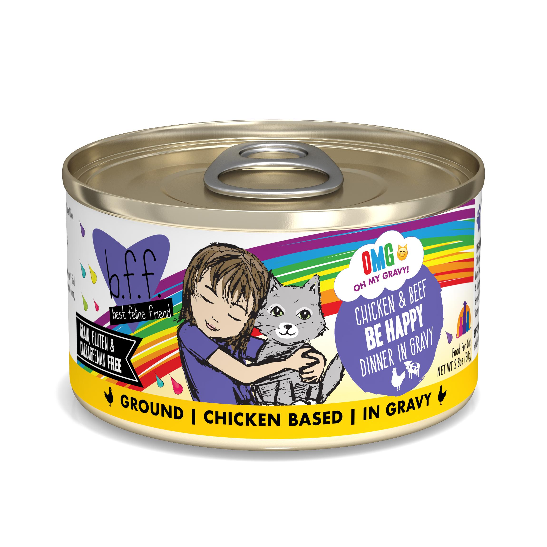 BFF Oh My Gravy! Be Happy! Chicken & Beef Dinner in Gravy Grain-Free Wet Cat Food, 2.8-oz