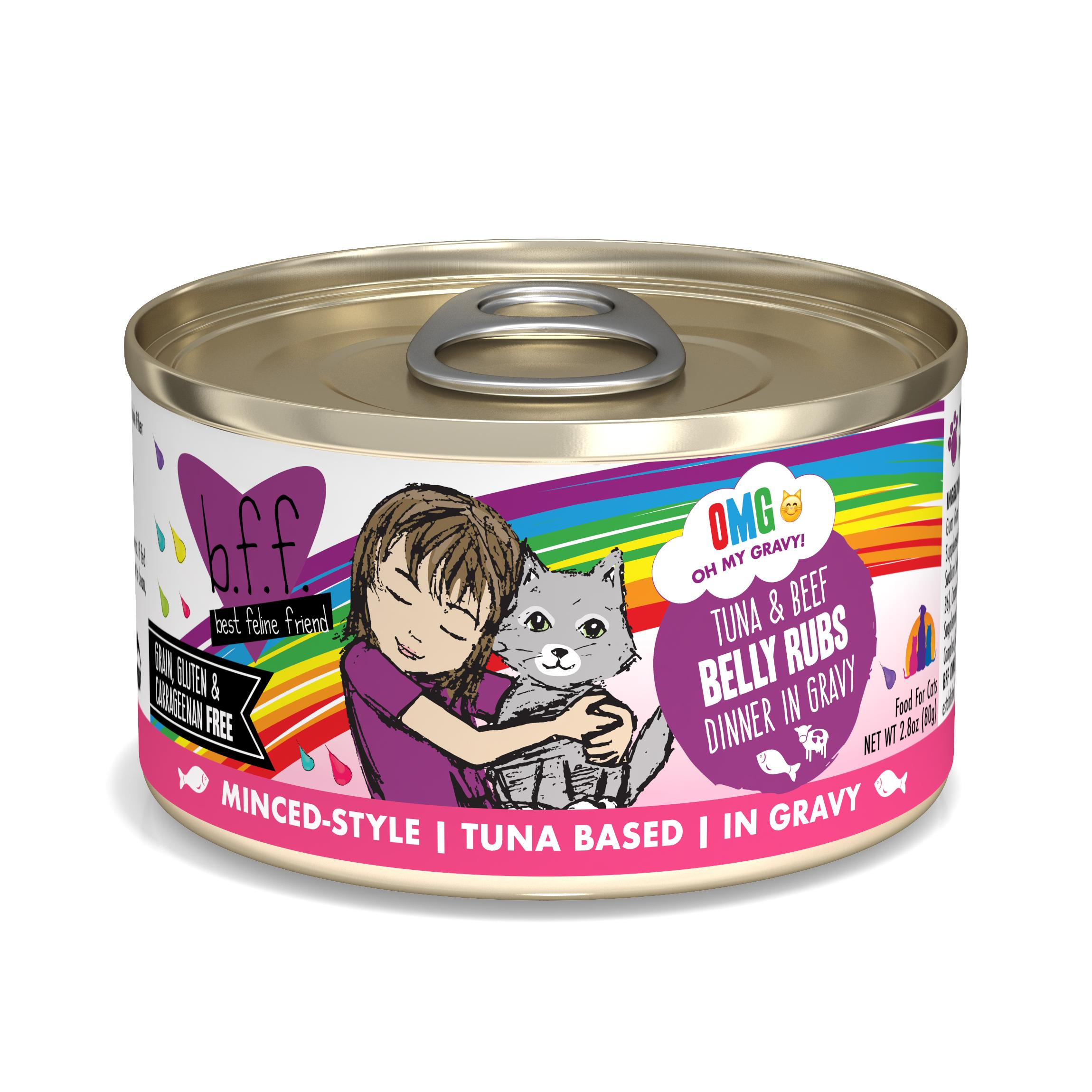 BFF Oh My Gravy! Belly Rubs! Tuna & Beef Dinner in Gravy Grain-Free Wet Cat Food, 2.8-oz