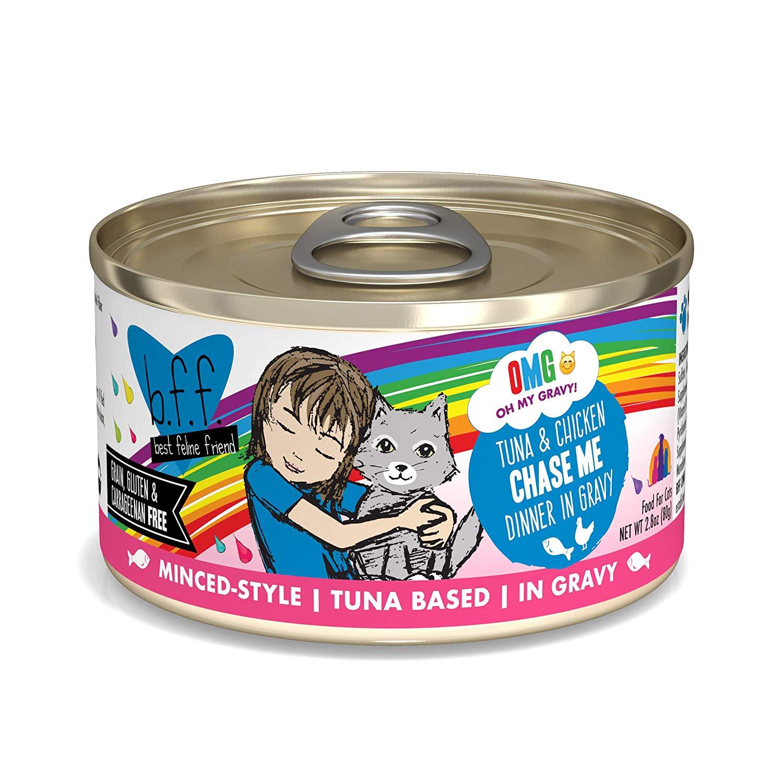 BFF Oh My Gravy! Chase Me! Tuna & Chicken Dinner in Gravy Grain-Free Wet Cat Food, 2.8-oz