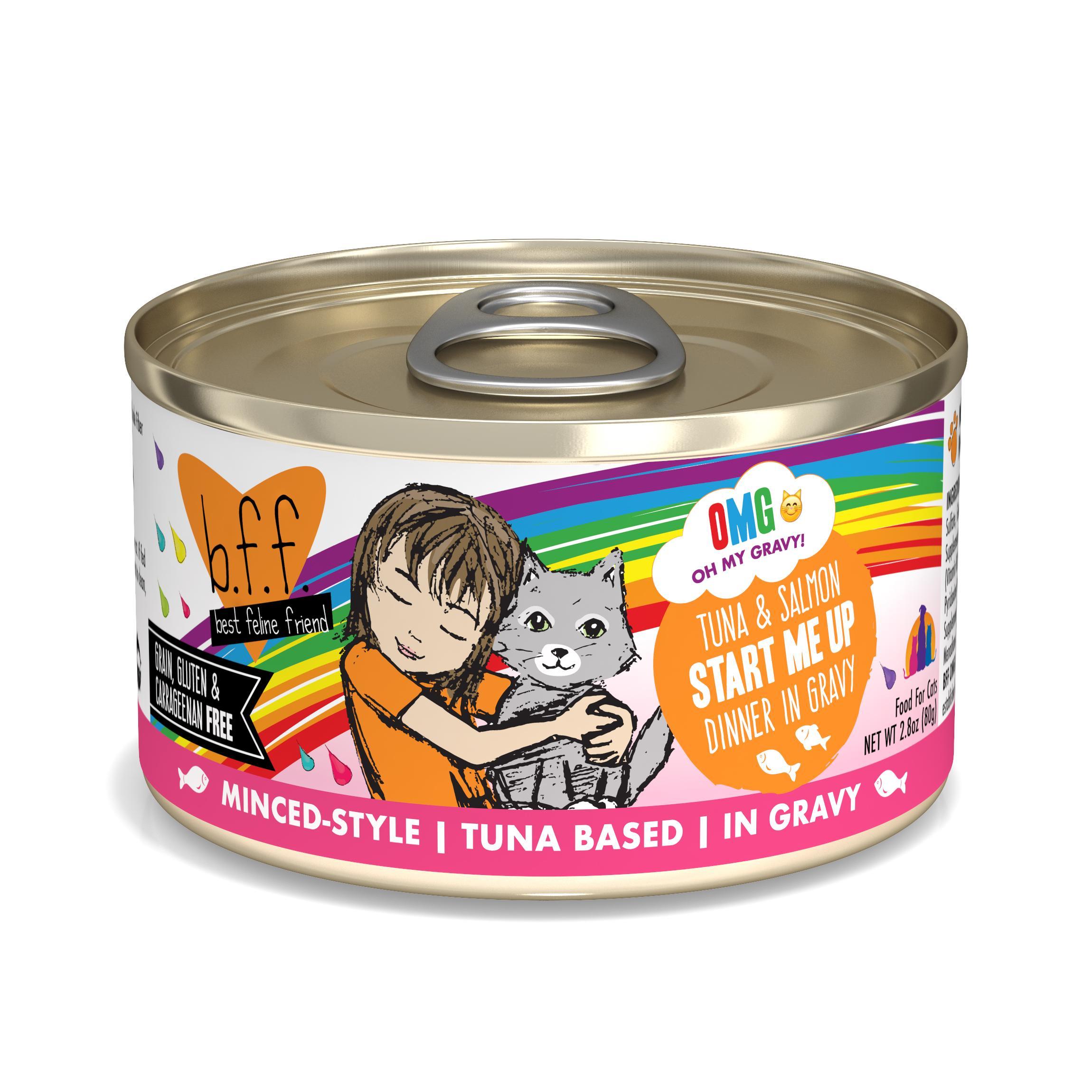 BFF Oh My Gravy! Start Me Up! Tuna & Salmon Dinner in Gravy Grain-Free Wet Cat Food, 2.8-oz