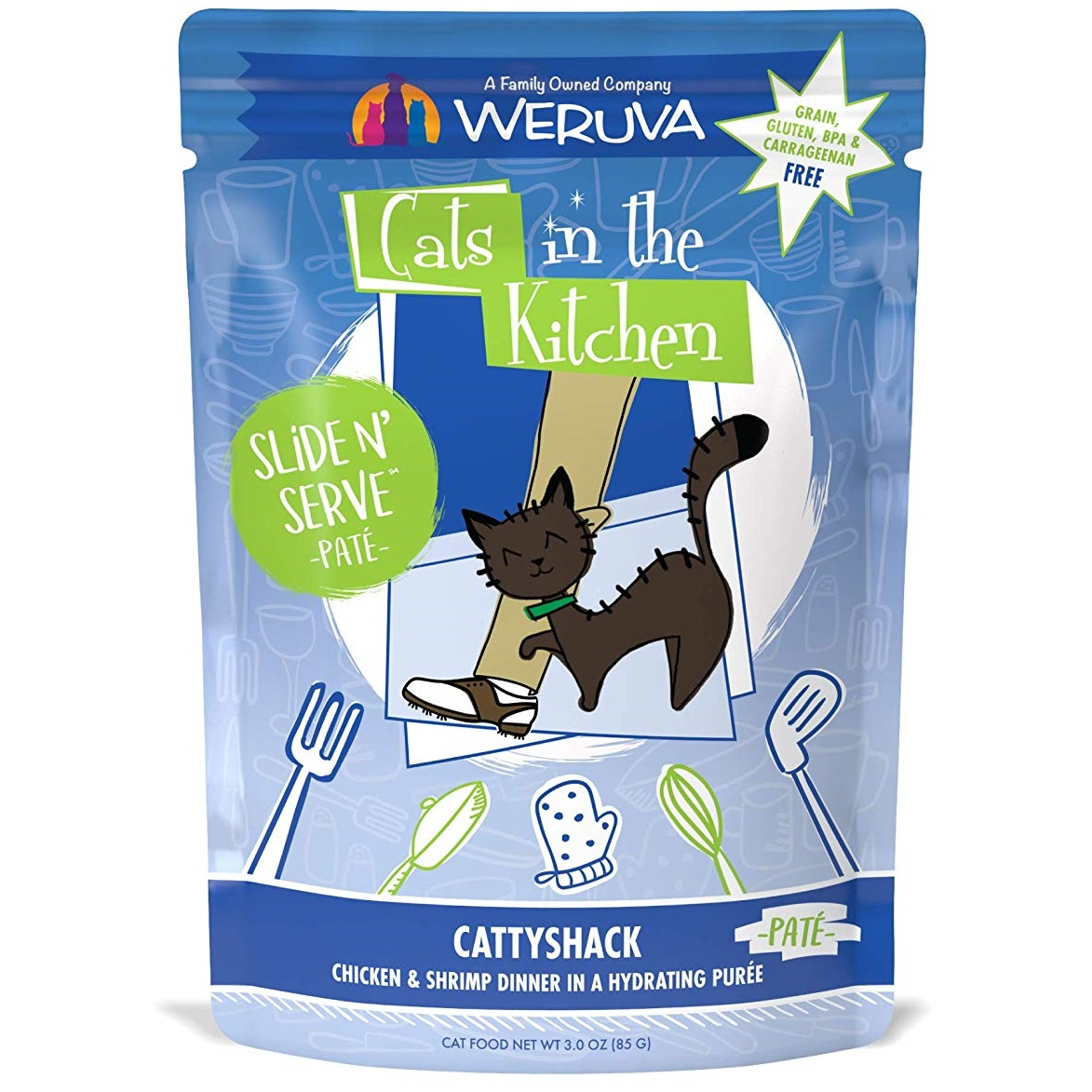 Weruva Cats In The Kitchen Pate Cattyshack Chicken & Shrimp Dinner in Puree Grain-Free Wet Cat Food, 3-oz pouch