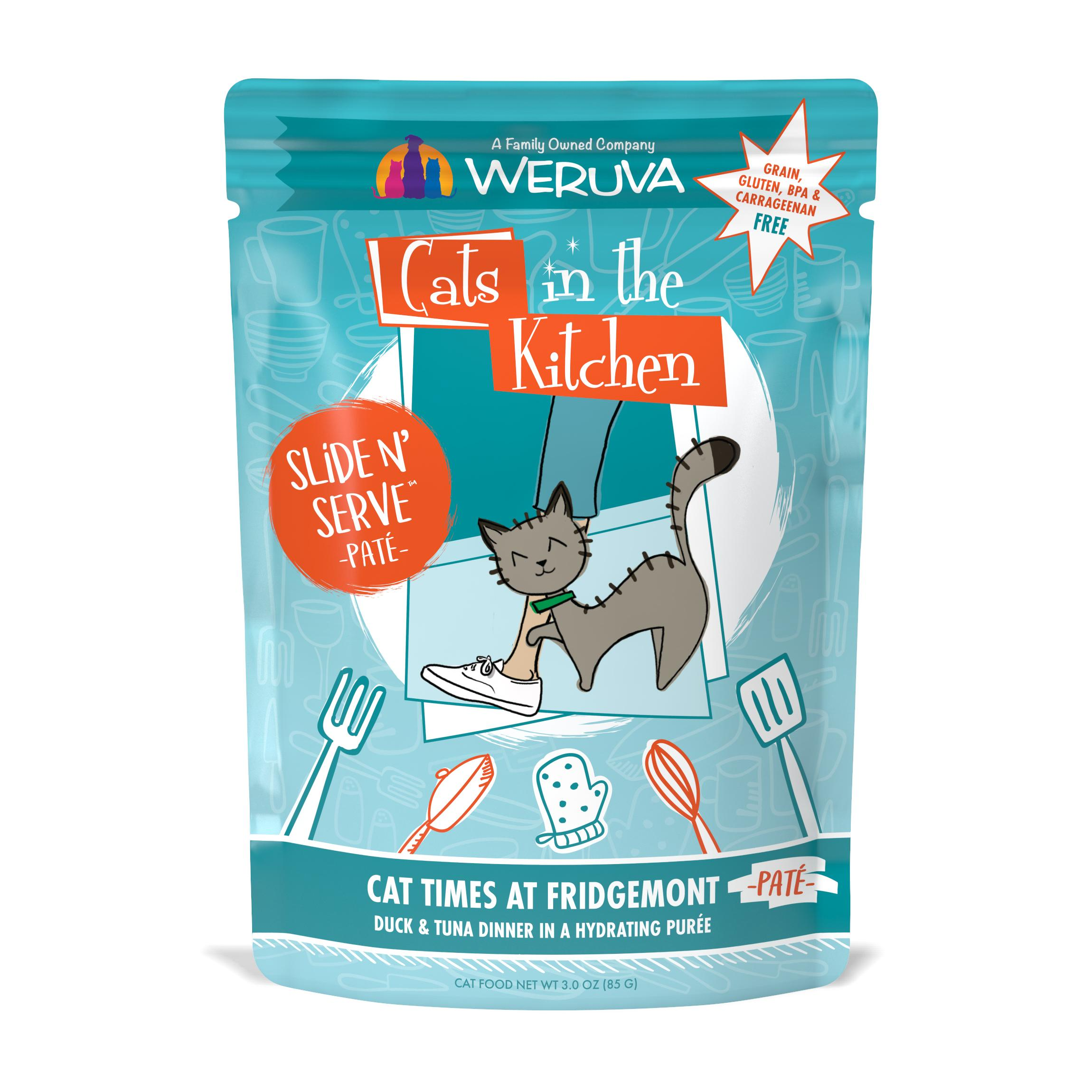 Weruva Cats In The Kitchen Pate Cat Times at Fridgemont Duck & Tuna Dinner in Puree Grain-Free Wet Cat Food, 3-oz pouch